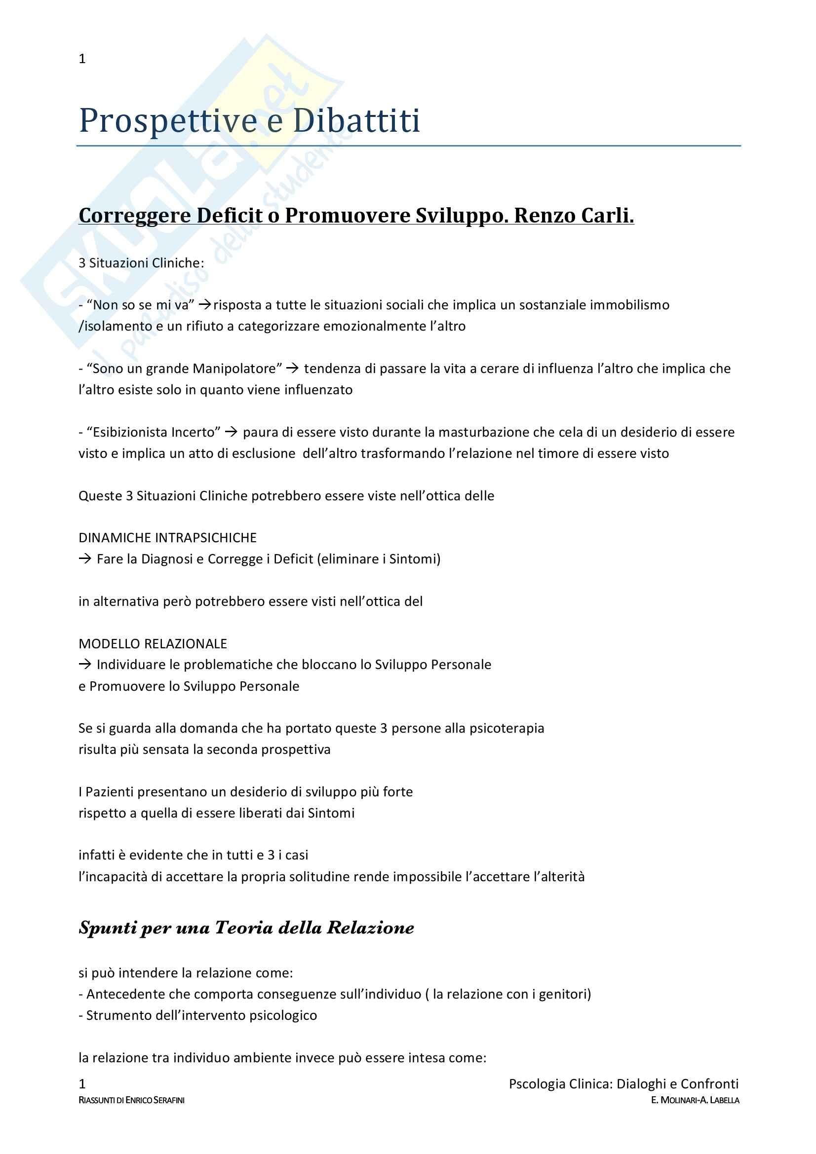 Riassunto esame Psicologia clinica, prof. Molinari, libro consigliato Dialoghi e confronti, Molinari, Labella