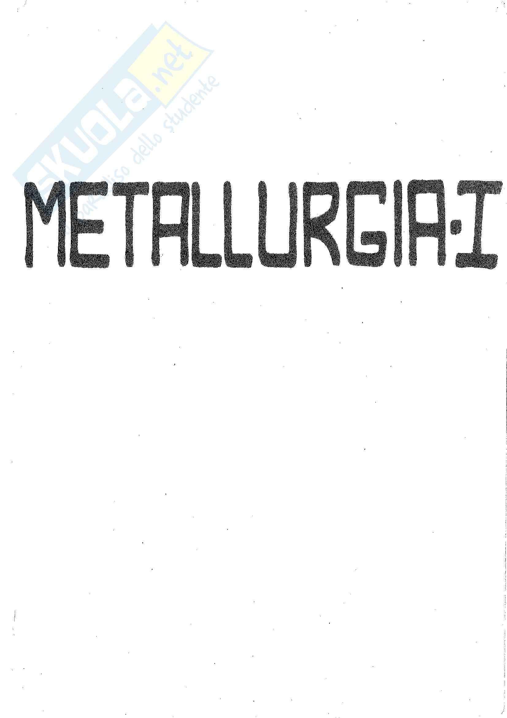 Lezioni: Appunti di Metallurgia