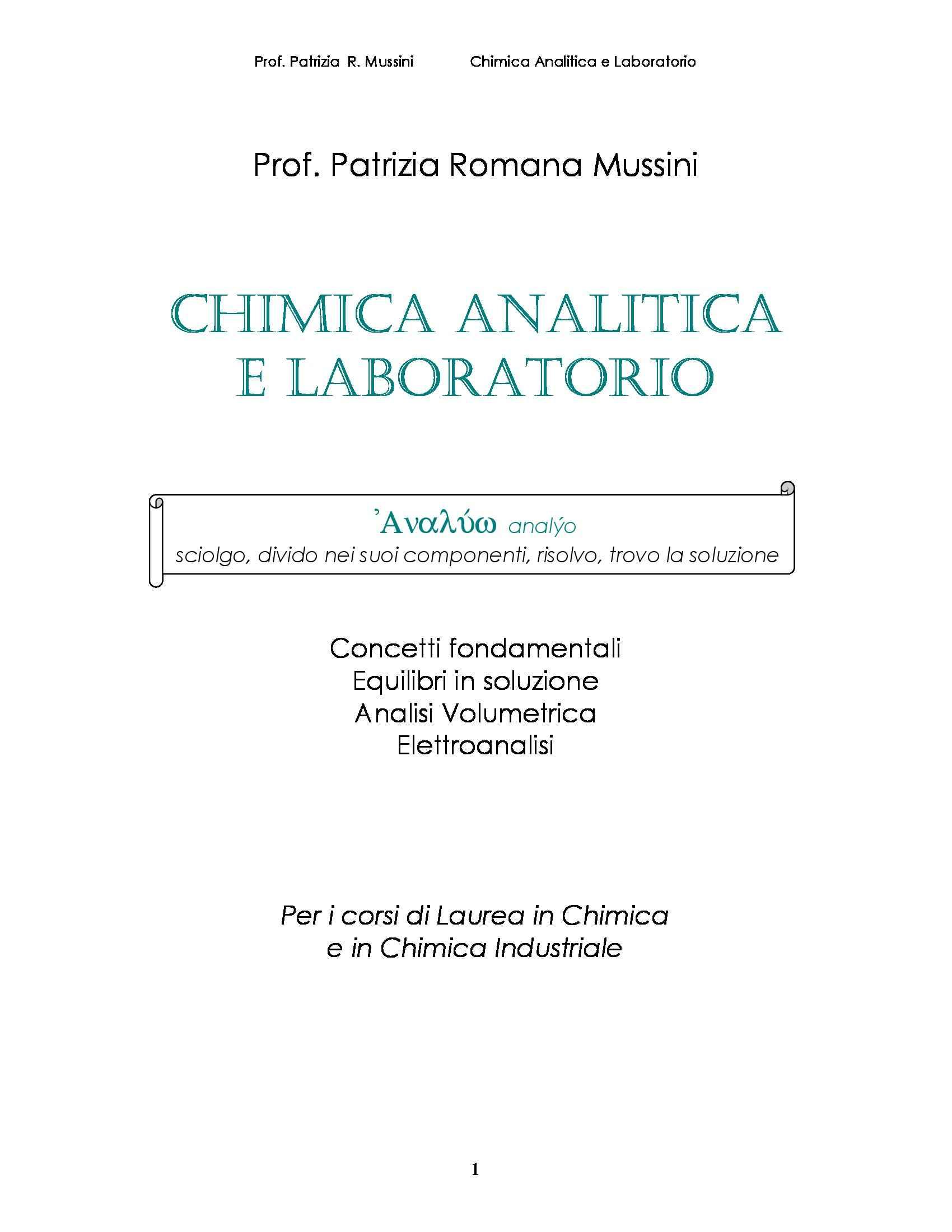 Analisi quantitativa e termodinamica chimica