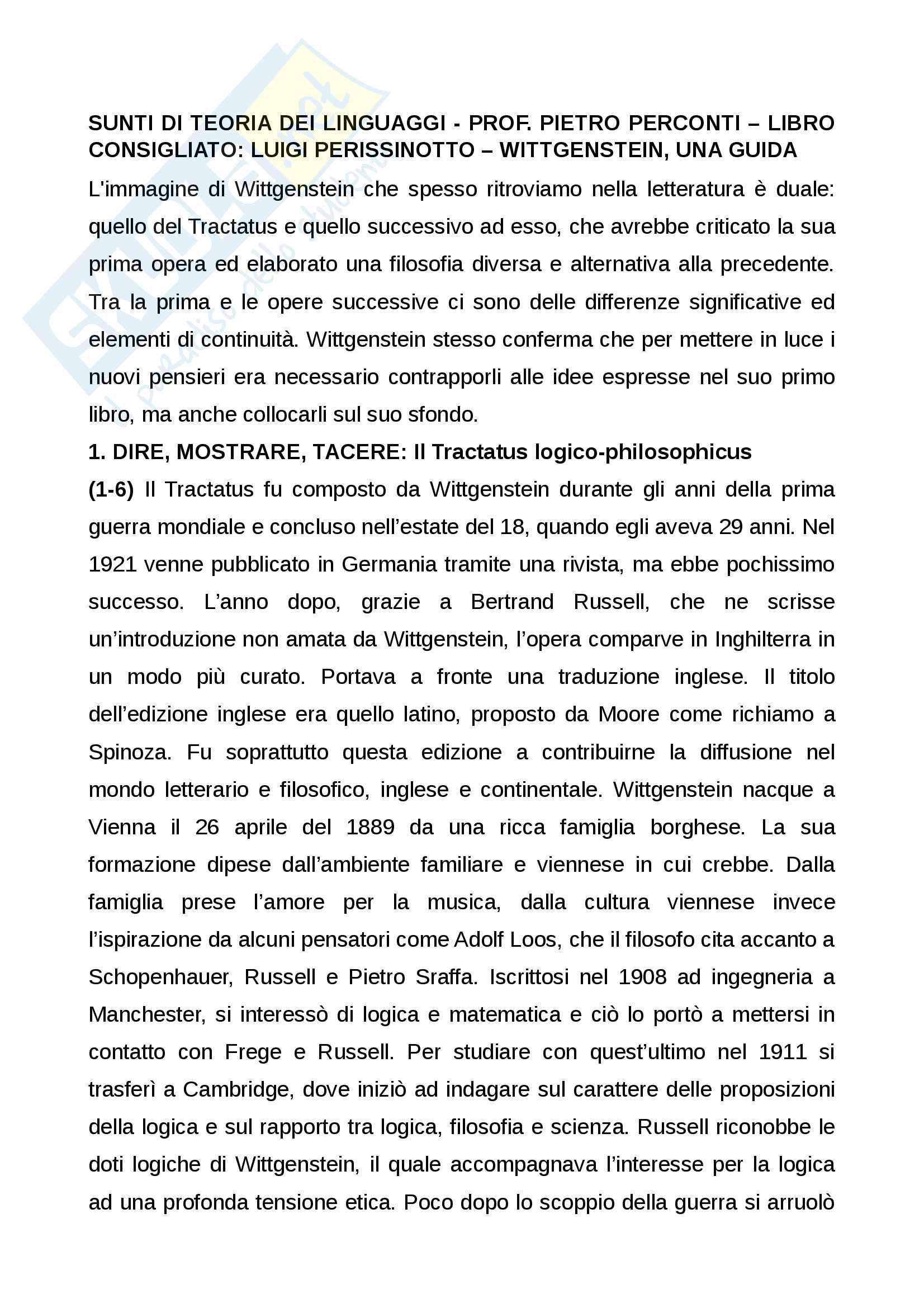 Sunti di teoria dei linguaggi, prof Pietro Perconti libro consigliato Luigi Perissinotto, Wittgenstein una guida