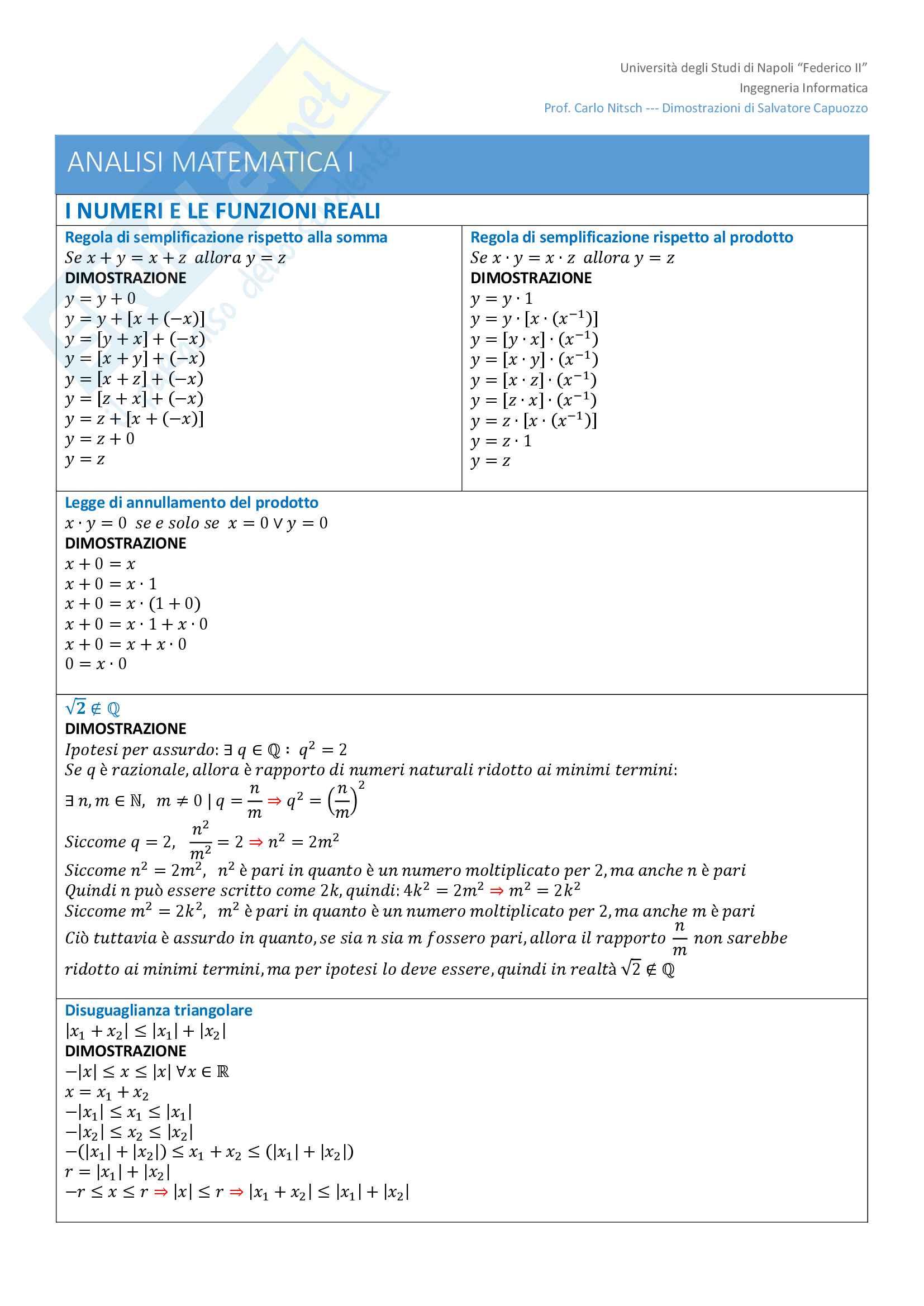 Teoremi e Dimostrazioni di Analisi Matematica I