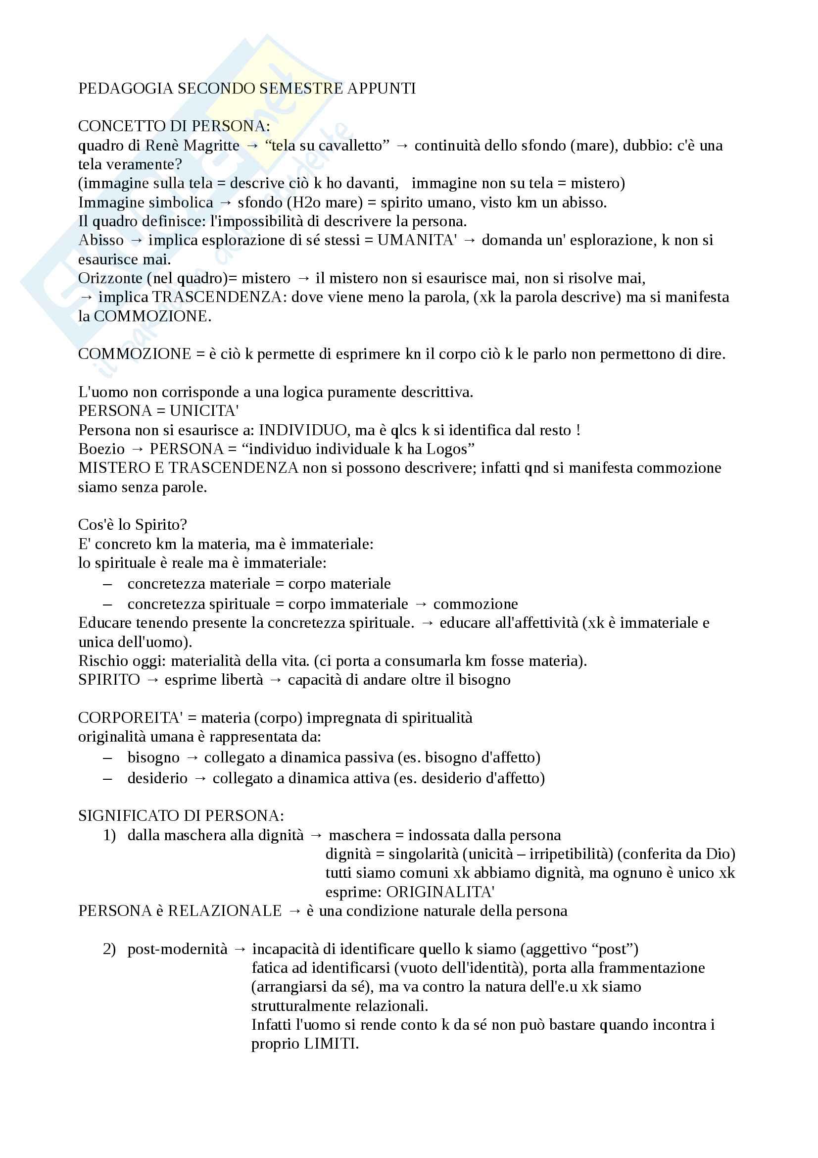 Appunti Pedagogia II Semestre