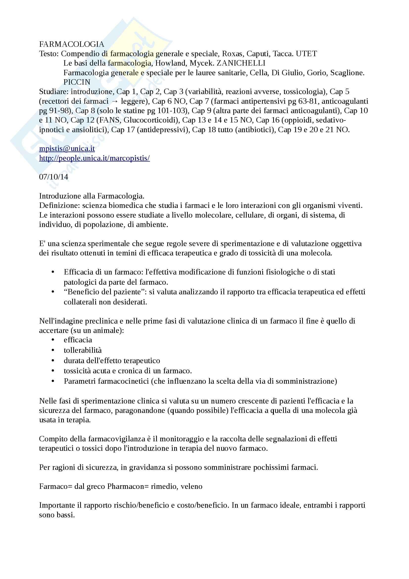 appunto M. Pistis Farmacologia generale e speciale