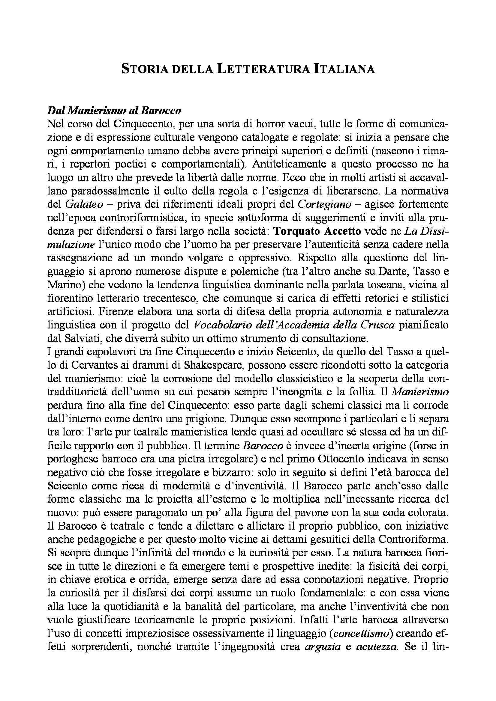 Letteratura italiana - manierismo, barocco, Arcadia e melodramma