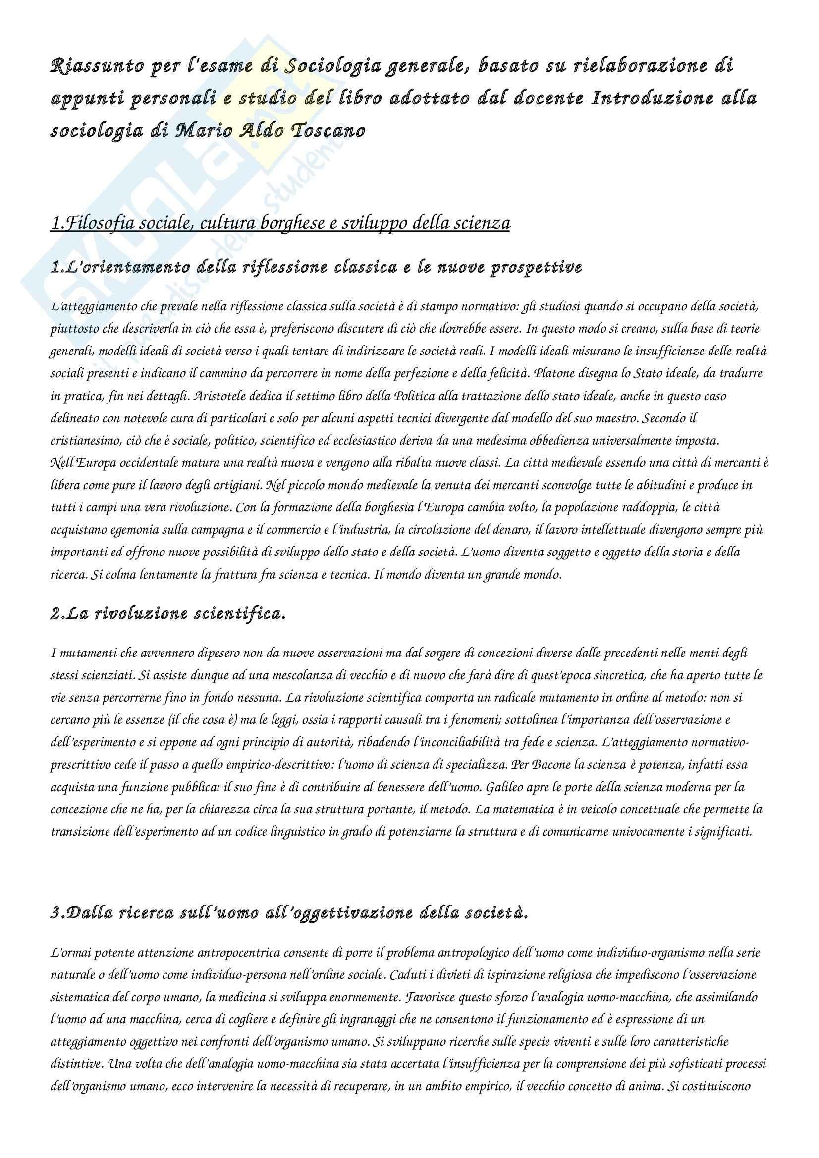 Riassunto esame Sociologia generale, prof. Barrucci, libro consigliato Introduzione alla sociologia, Toscano