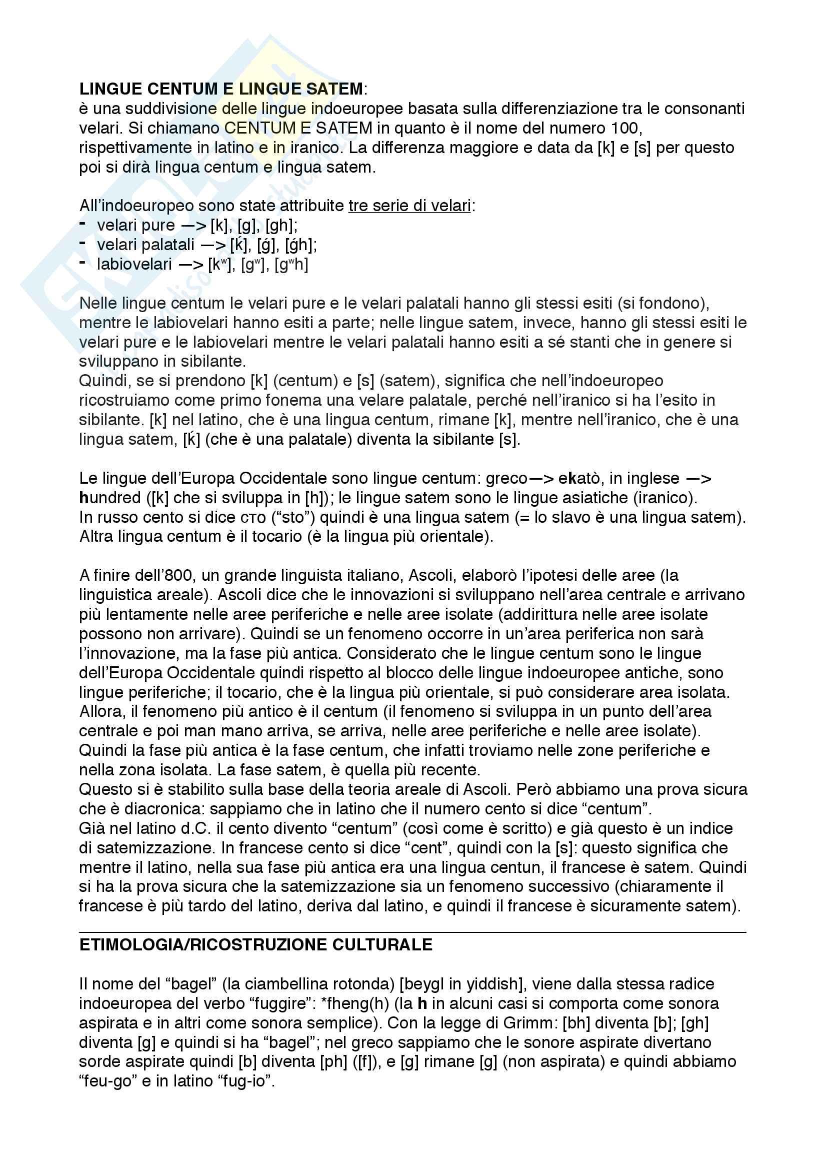 Linguistica Storica 3 - Lingue centum e satem + ricostruzioni culturali