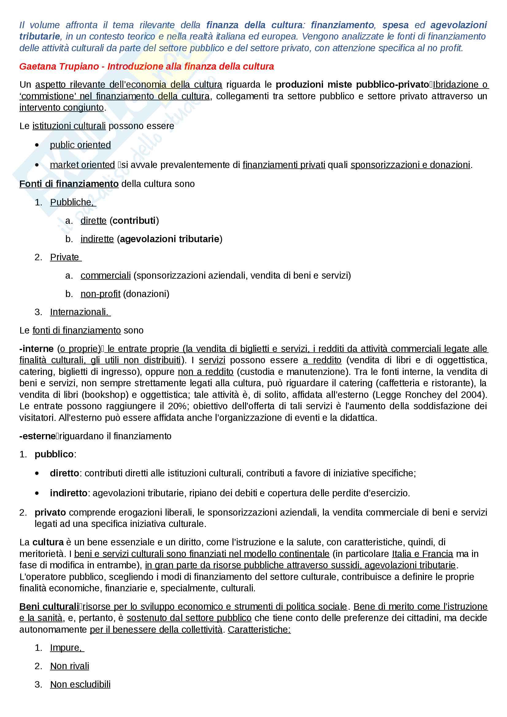 Riassunto esame Economia della cultura, docente Trupiano, libro consigliato La finanza della cultura, Trupiano