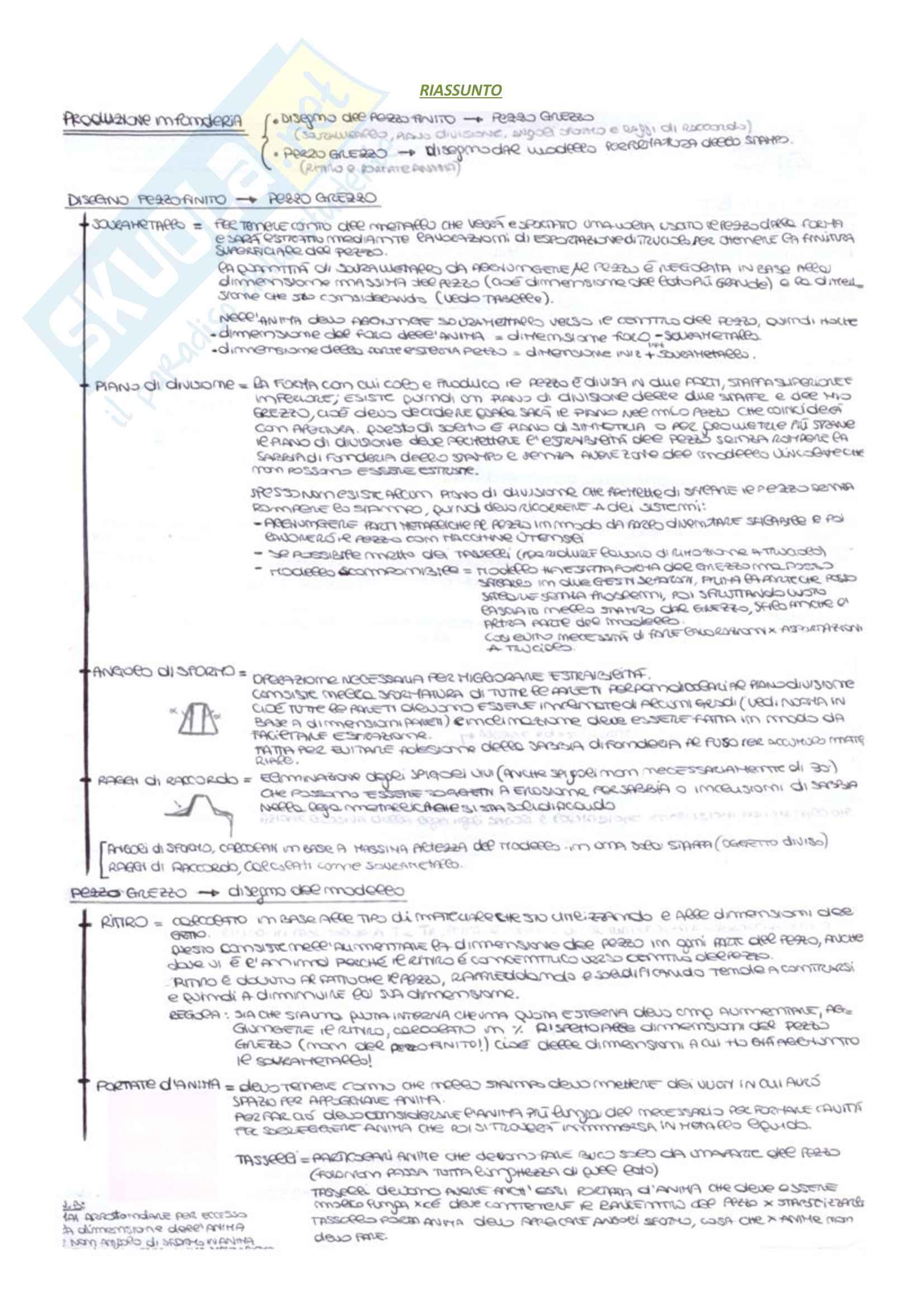 Tecniche e processi di fonderia: Appunti Tecnologie Generali Pag. 6