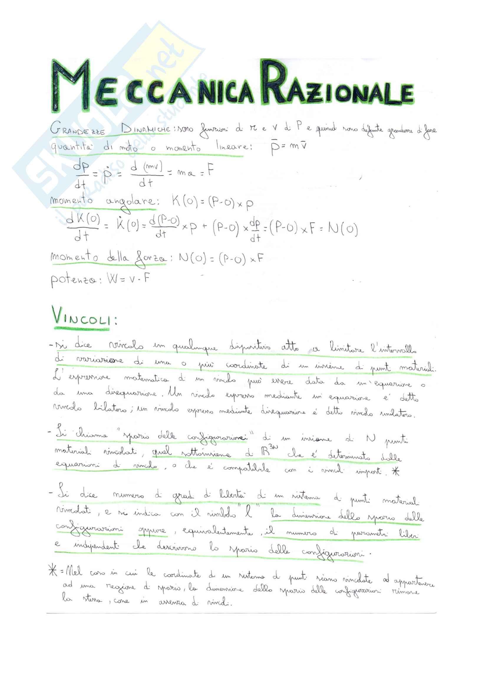 Meccanica Razionale, prof. Demeio, Tutti i teoremi e le dimostrazioni per l'esame orale + esercizi