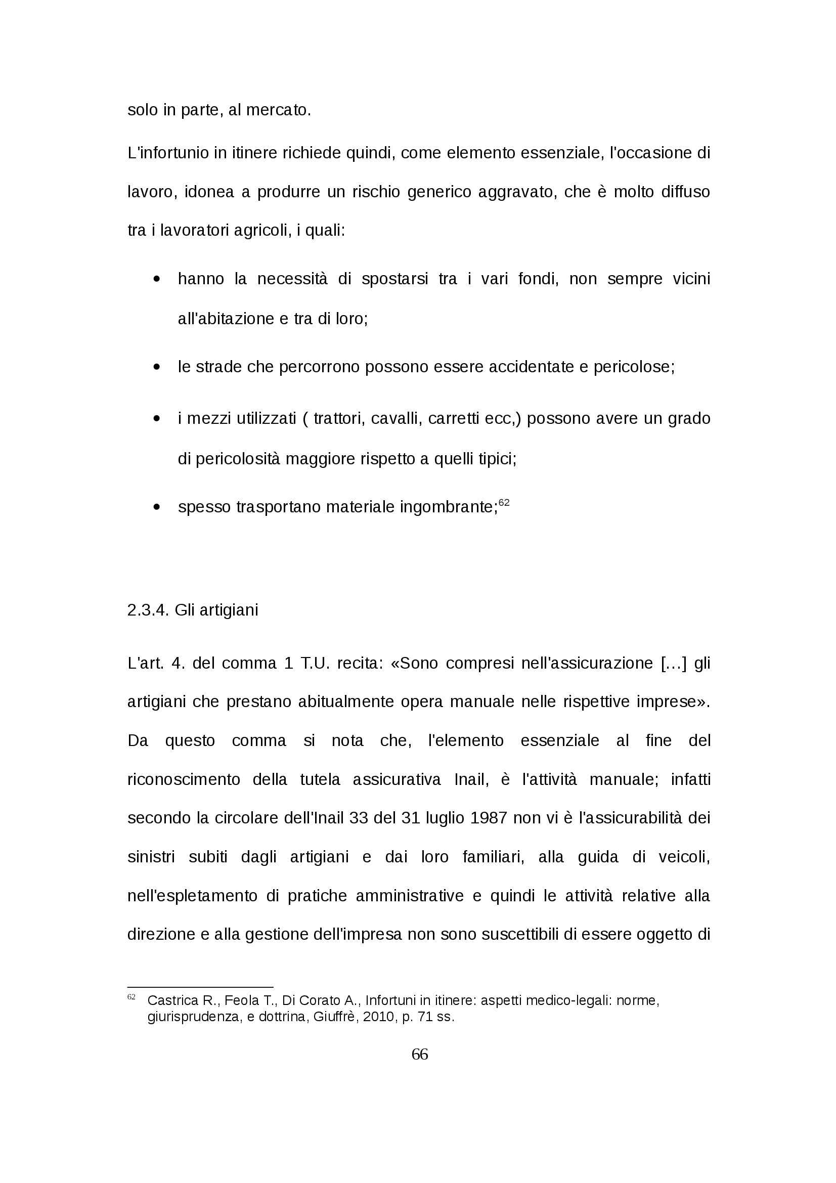 Tesi - Infortunio in itinere Pag. 66