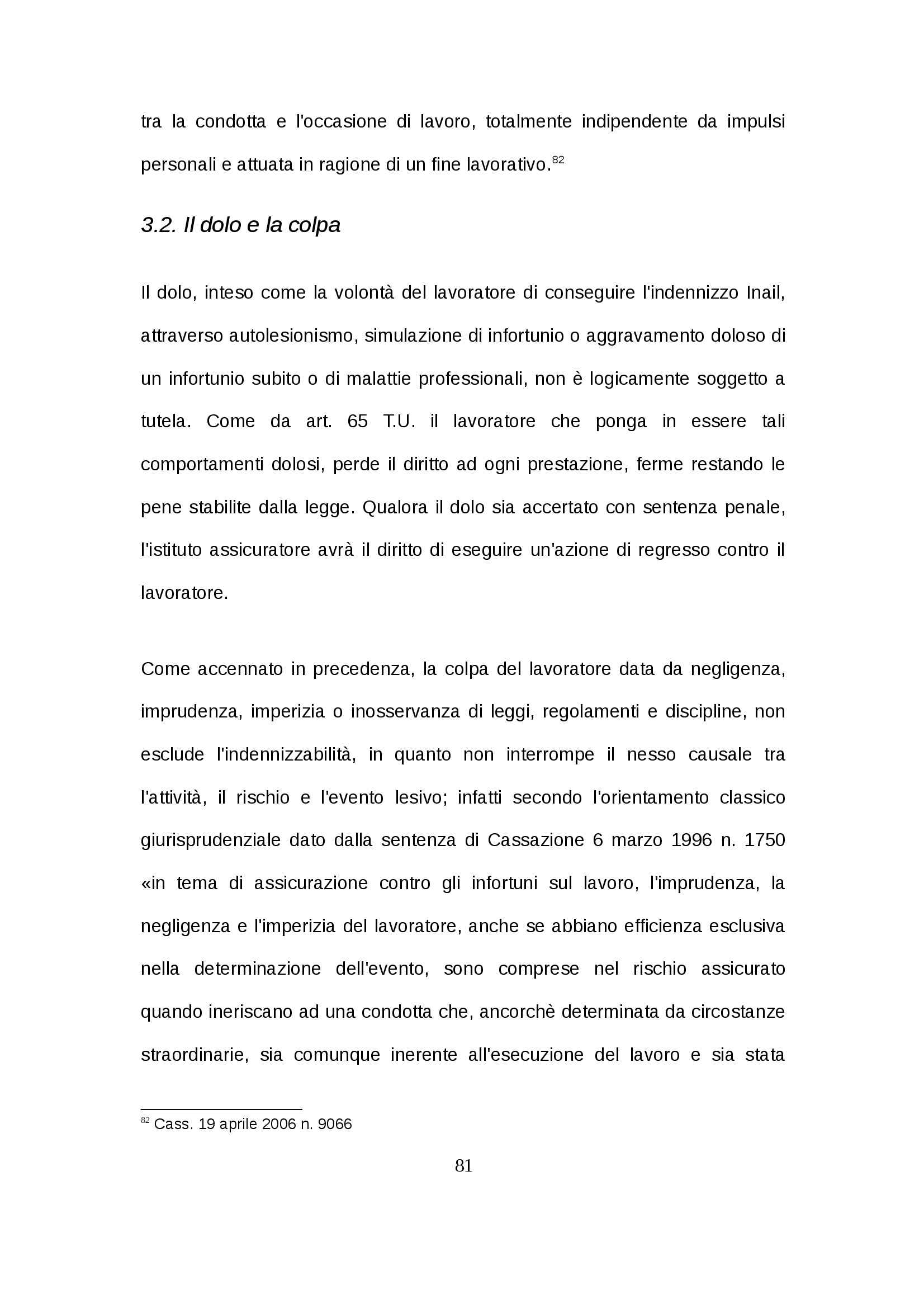 Tesi - Infortunio in itinere Pag. 81