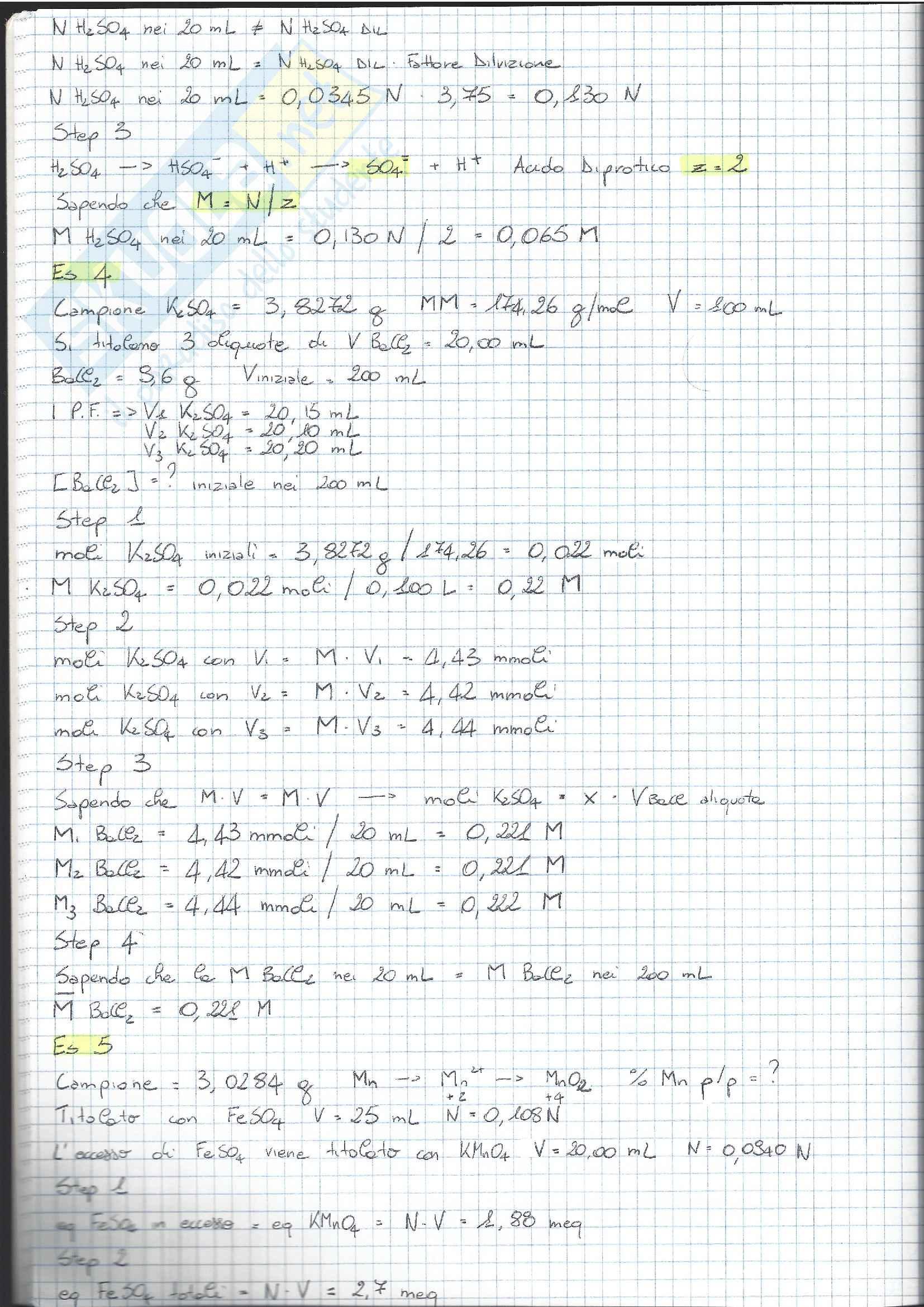 01 e 08 - Analisi Chimico Tossicologica 1 - Esercizi Pag. 16