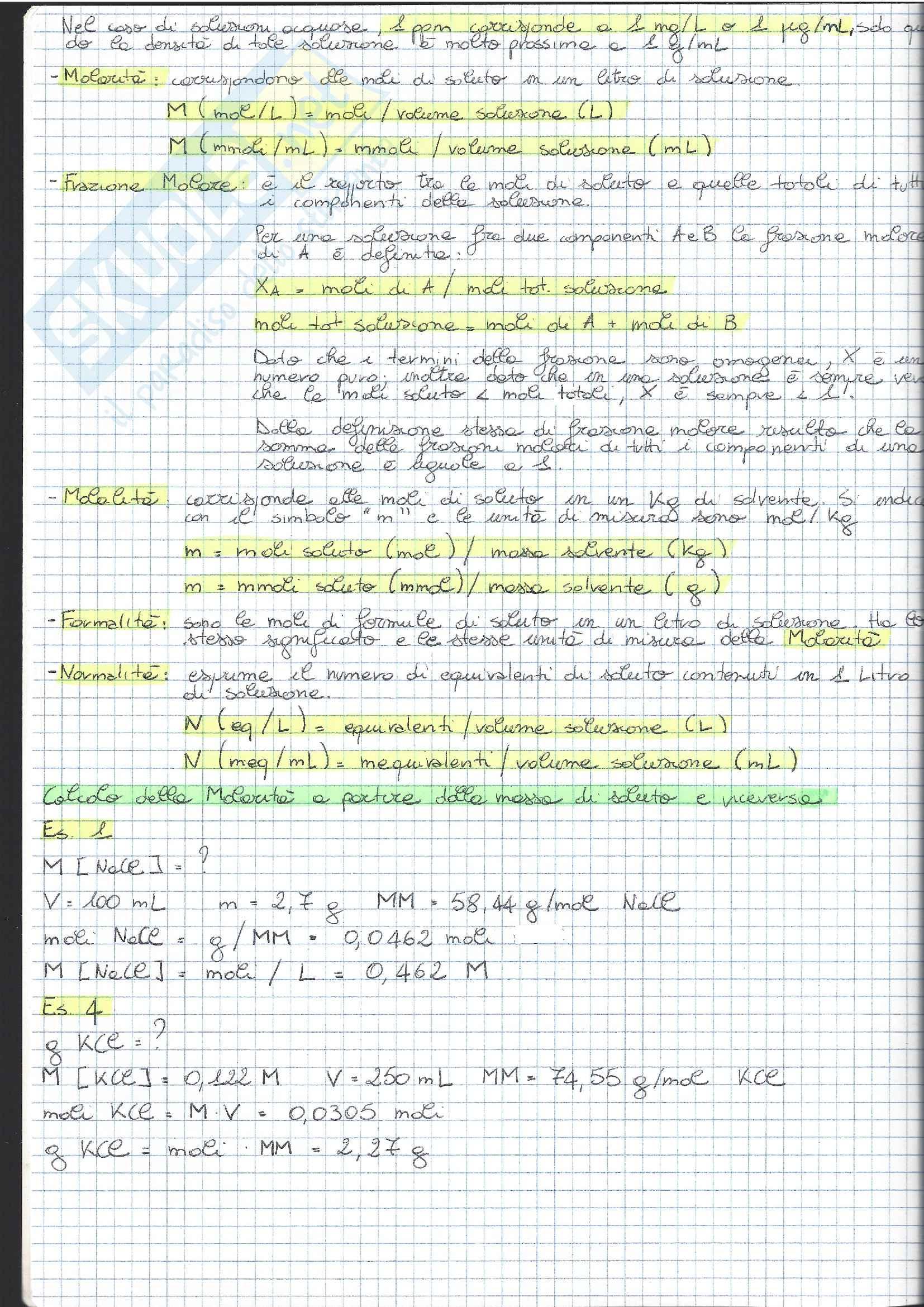 01 e 08 - Analisi Chimico Tossicologica 1 - Esercizi Pag. 2