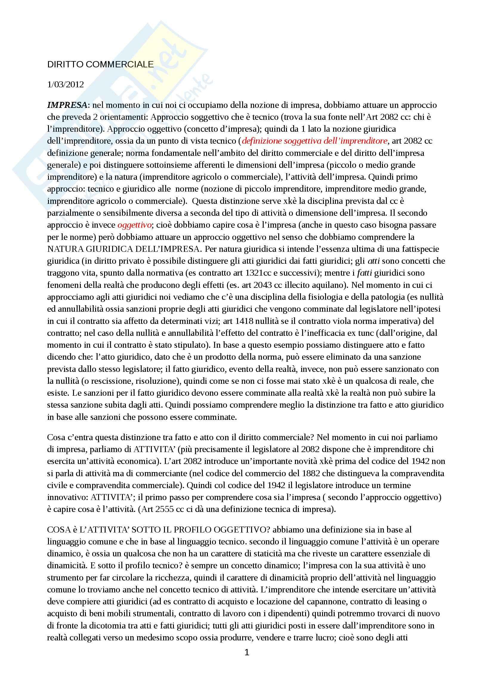Diritto commerciale - Appunti