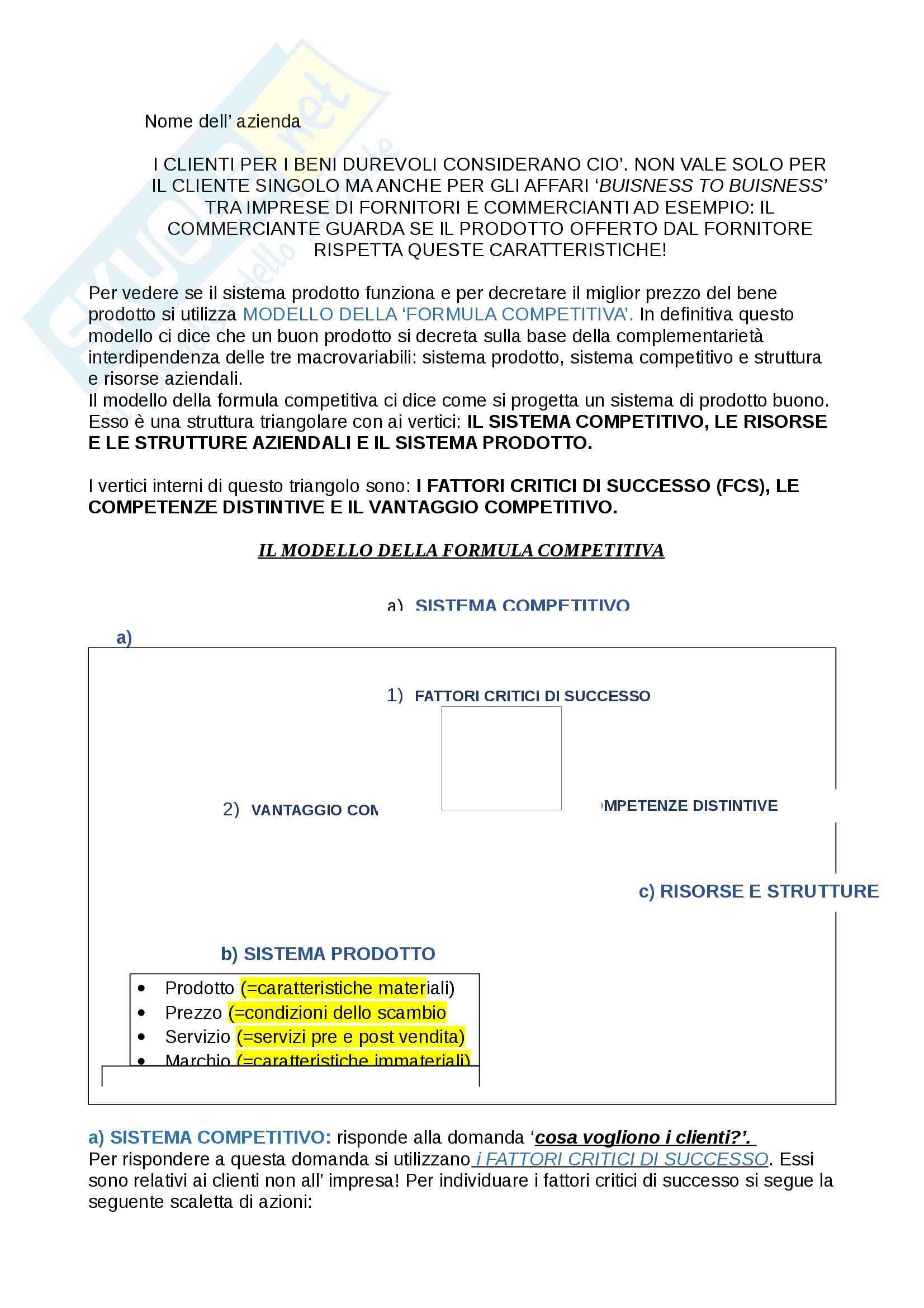 Sistema prodotto e formula competitiva, Economia aziendale Pag. 2