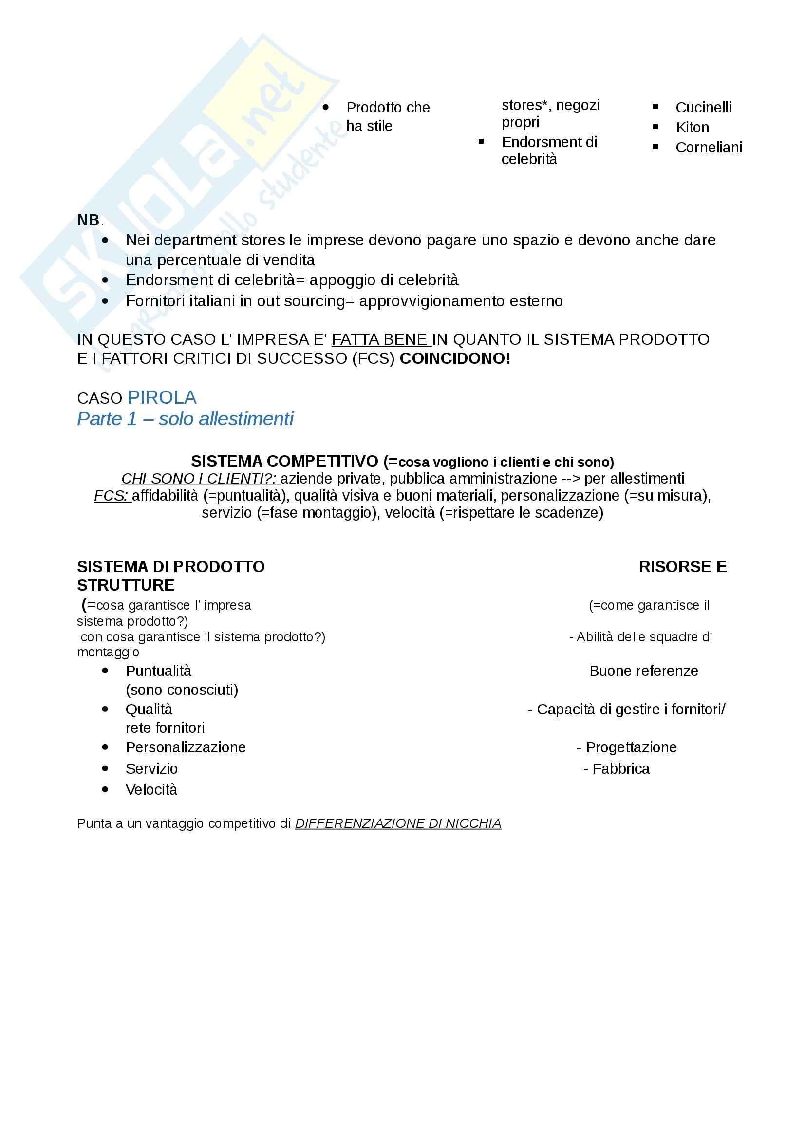 Sistema prodotto e formula competitiva, Economia aziendale Pag. 6