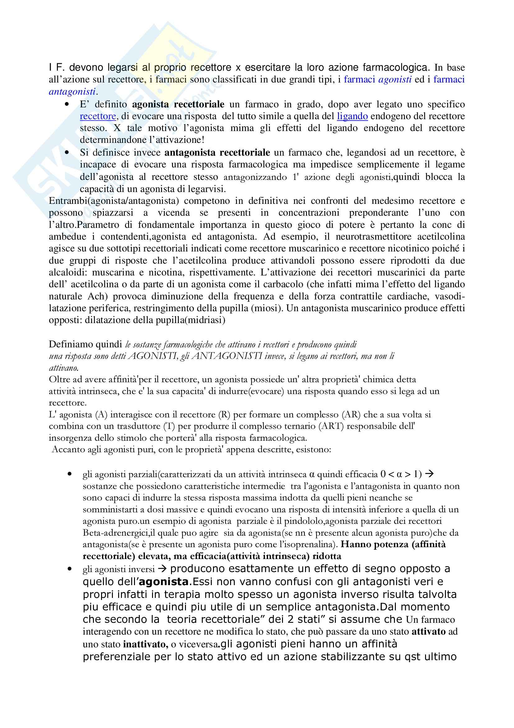 Farmacologia generale - agonista ed antagonista recettoriale Pag. 1