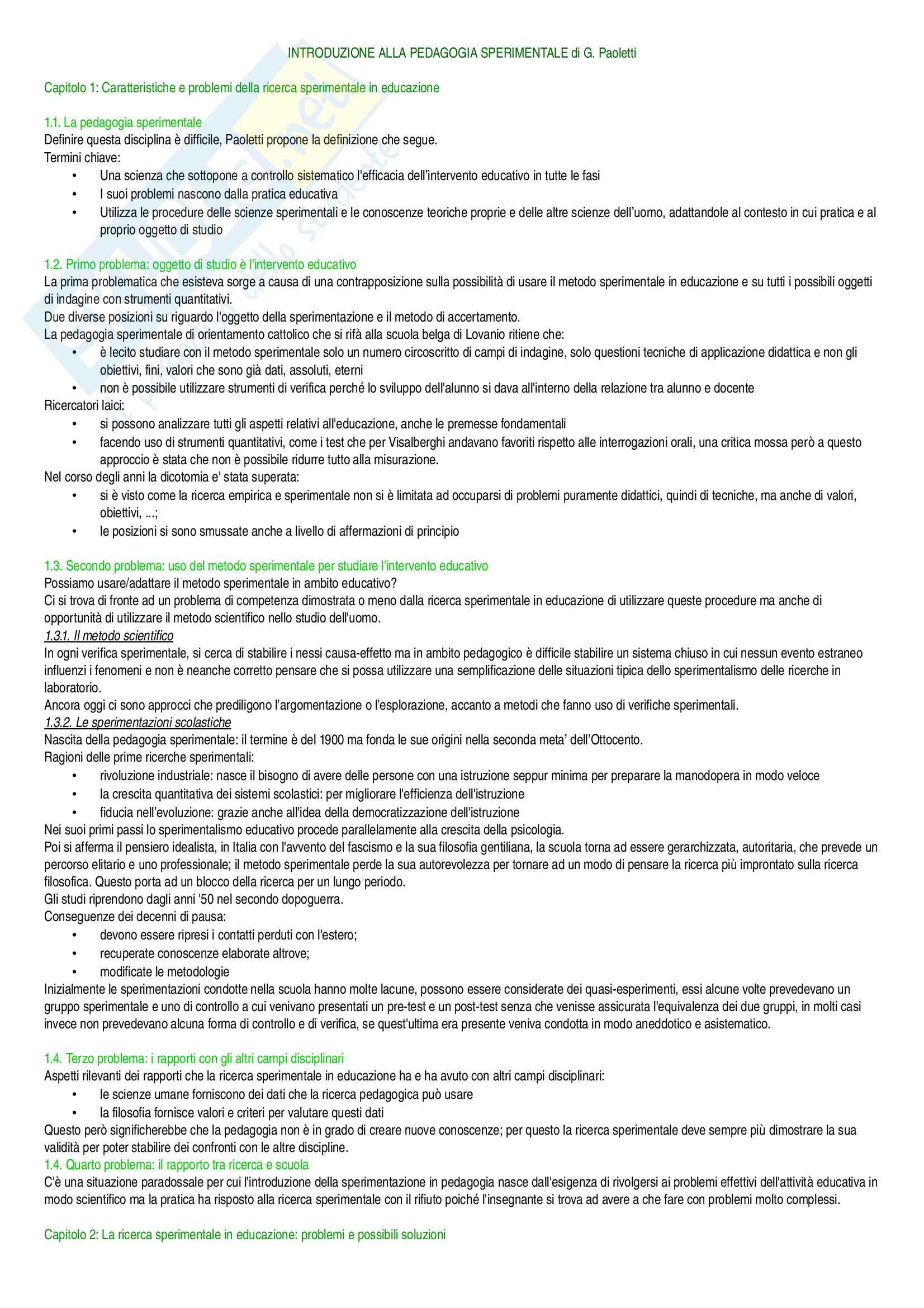 Riassunto esame Pedagogia sperimentale, prof. Paoletti, libro consigliato Introduzione alla pedagogia sperimentale, Paoletti