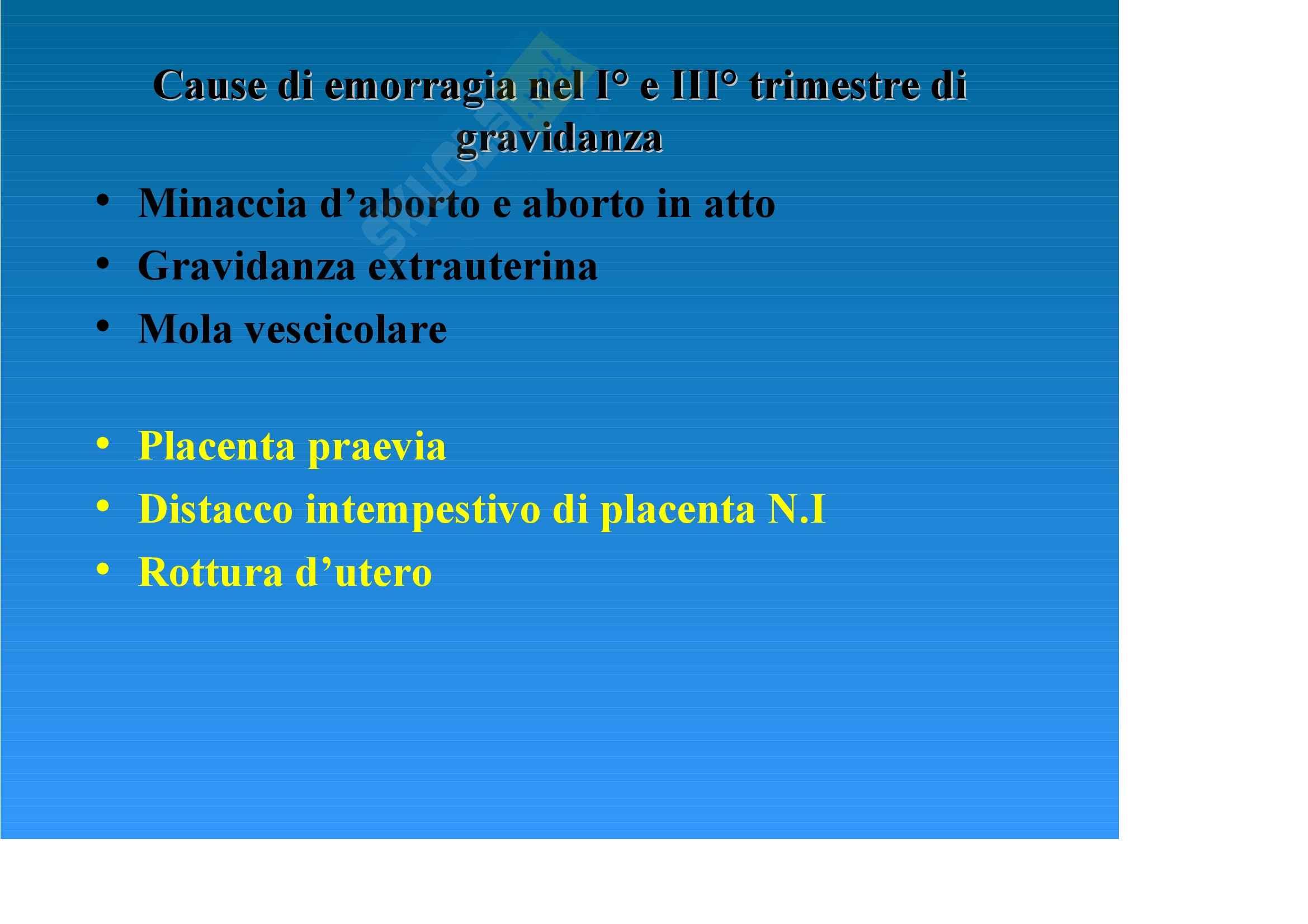 Ginecologia e ostetricia - Emorragie