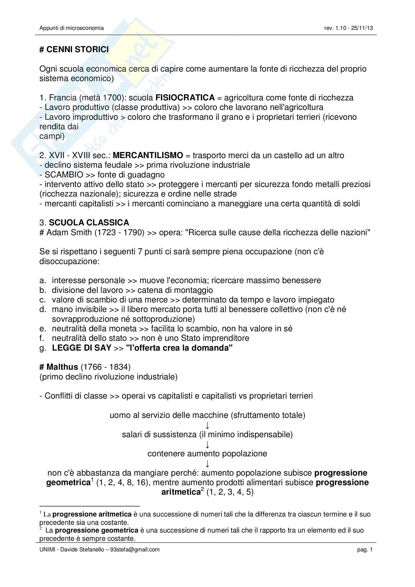 Microeconomia - Appunti