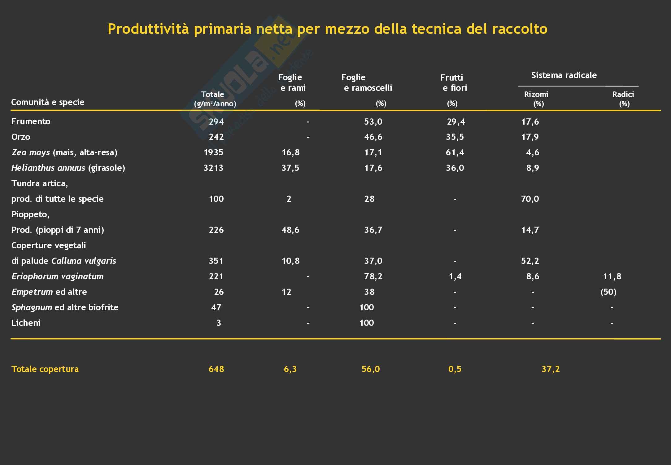 Ecologia: Misure di produttività primaria netta Pag. 6