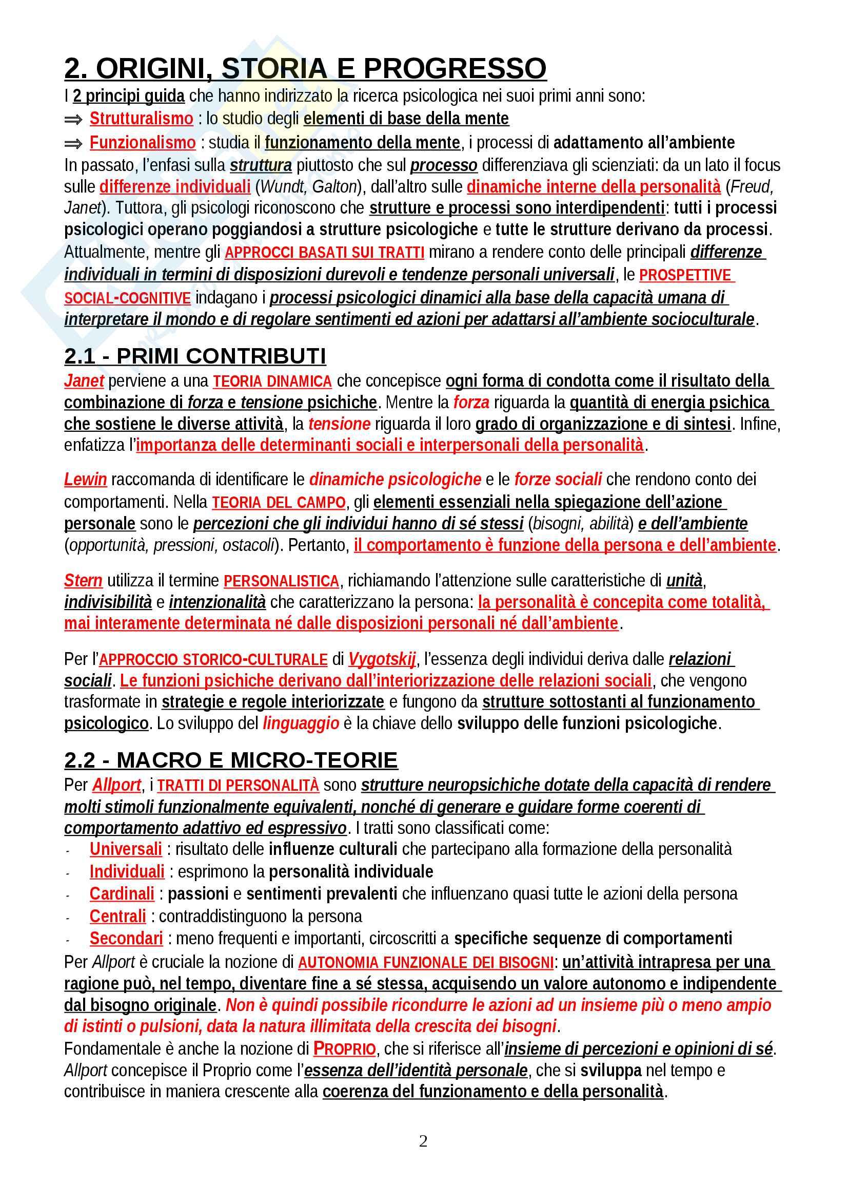 """Riassunto esame Psicologia delle Emozioni e della Personalità, prof. Gerbino, libro consigliato """"Personalità, determinanti, dinamiche, potenzialità"""", Caprara Pag. 2"""