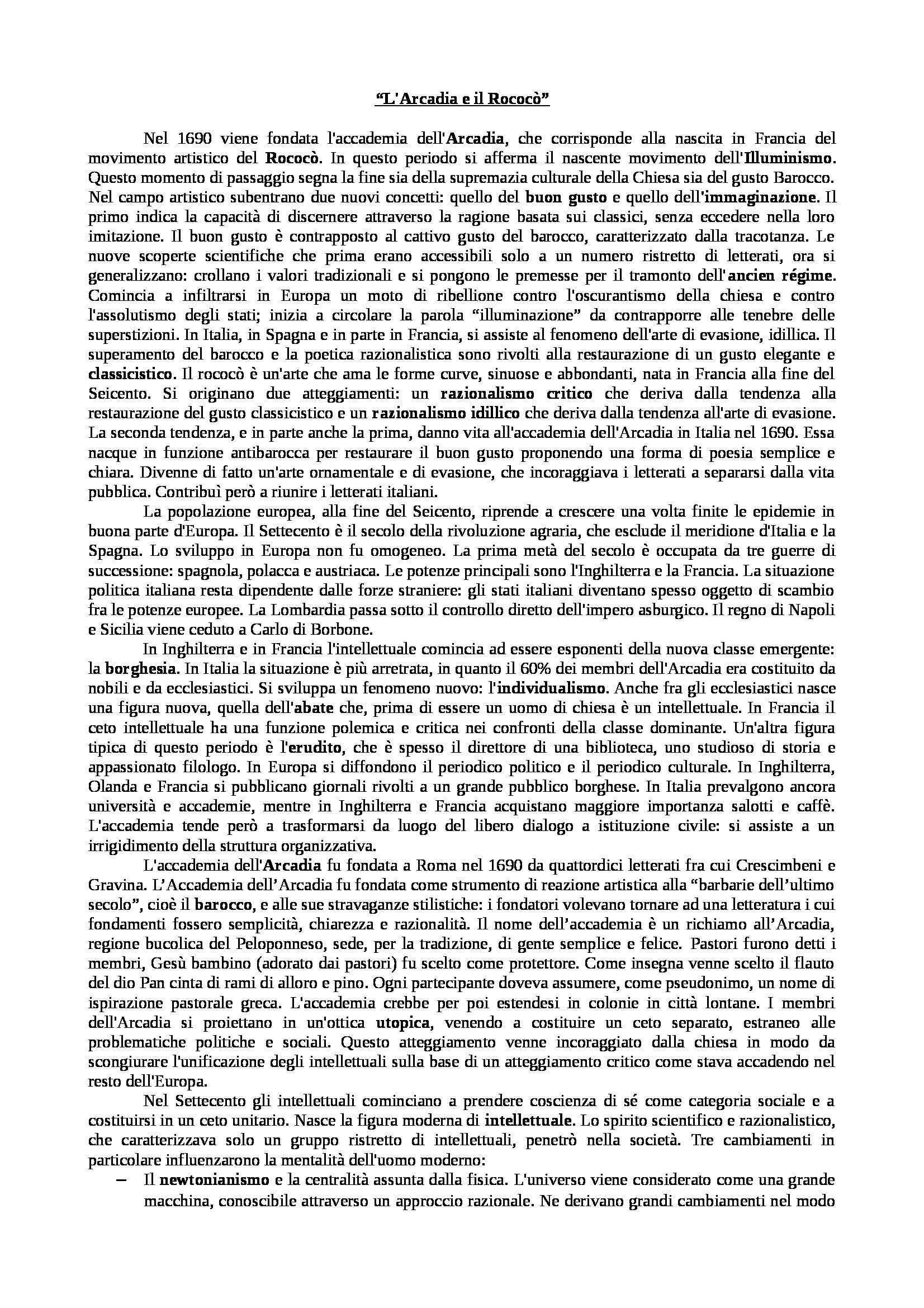 Appunti di Letteratura italiana: dall'Arcadia a Pascoli