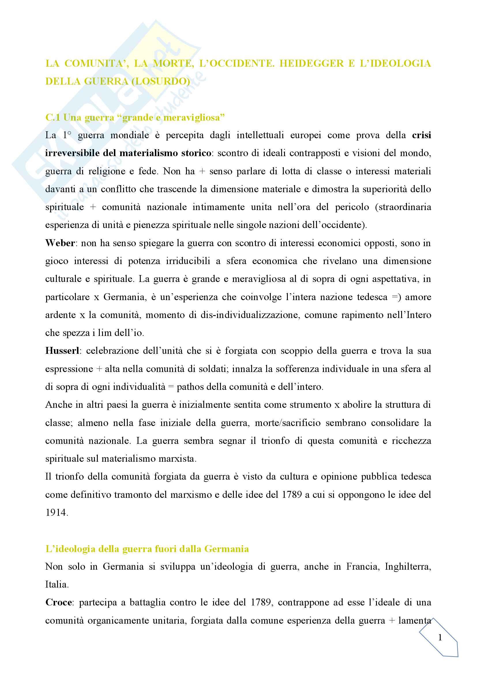 Sunto per l'esame di Estetica, docente Pinottini, libro consigliato La comunità, la morte, l'Occidente, Losurdo