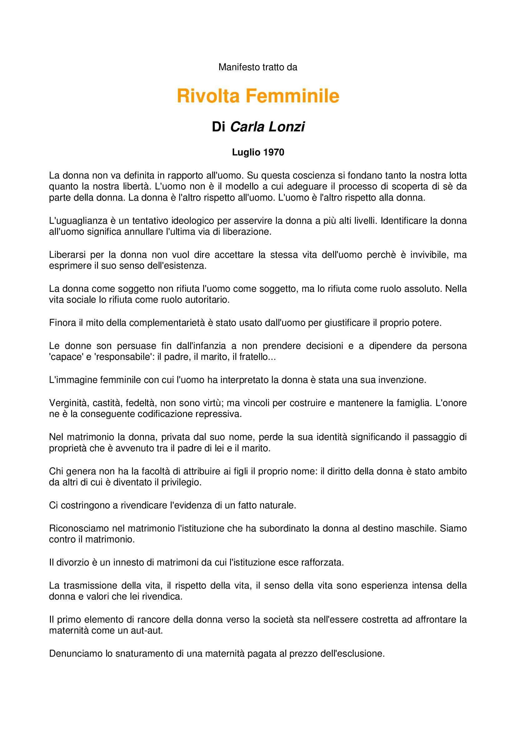 Rivolta femminile - Manifesto 1970, Carla Lonzi