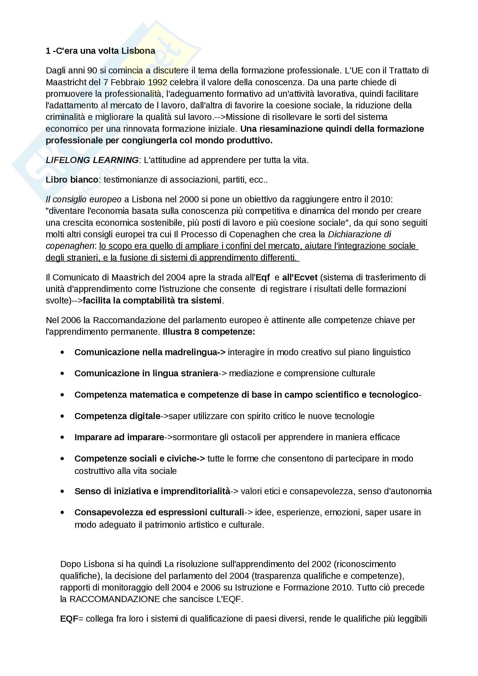 Rissunto esame Didattica della formazione, Docente Tacconi, Libro consigliato: Il lavoro che educa di D'aniello Fabrizio