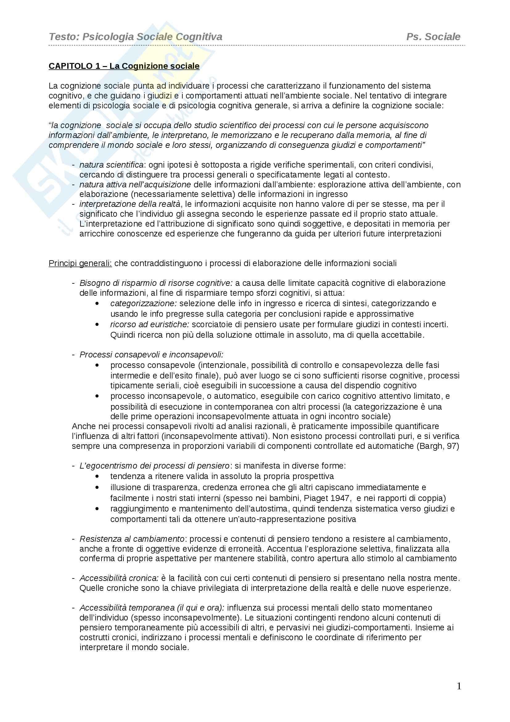 Riassunto esame Psicologia Sociale, prof. Castelli, libro consigliato Psicologia Sociale Cognitiva, Castelli