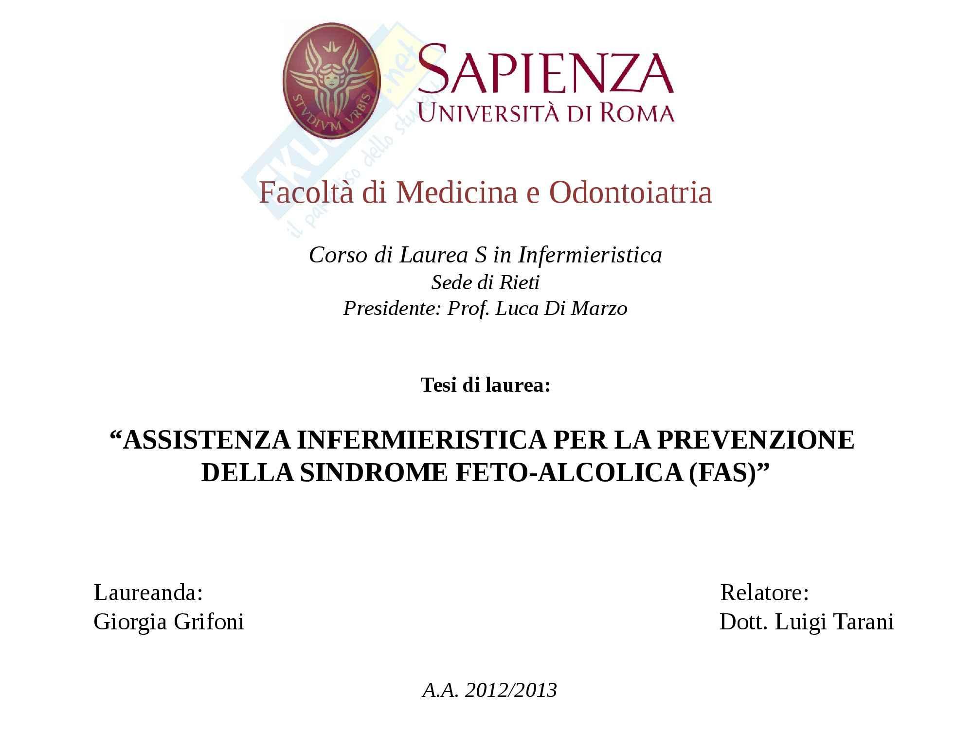 Assistenza Infermieristica per la prevenzione della Sindrome feto-alcolica, Pediatria