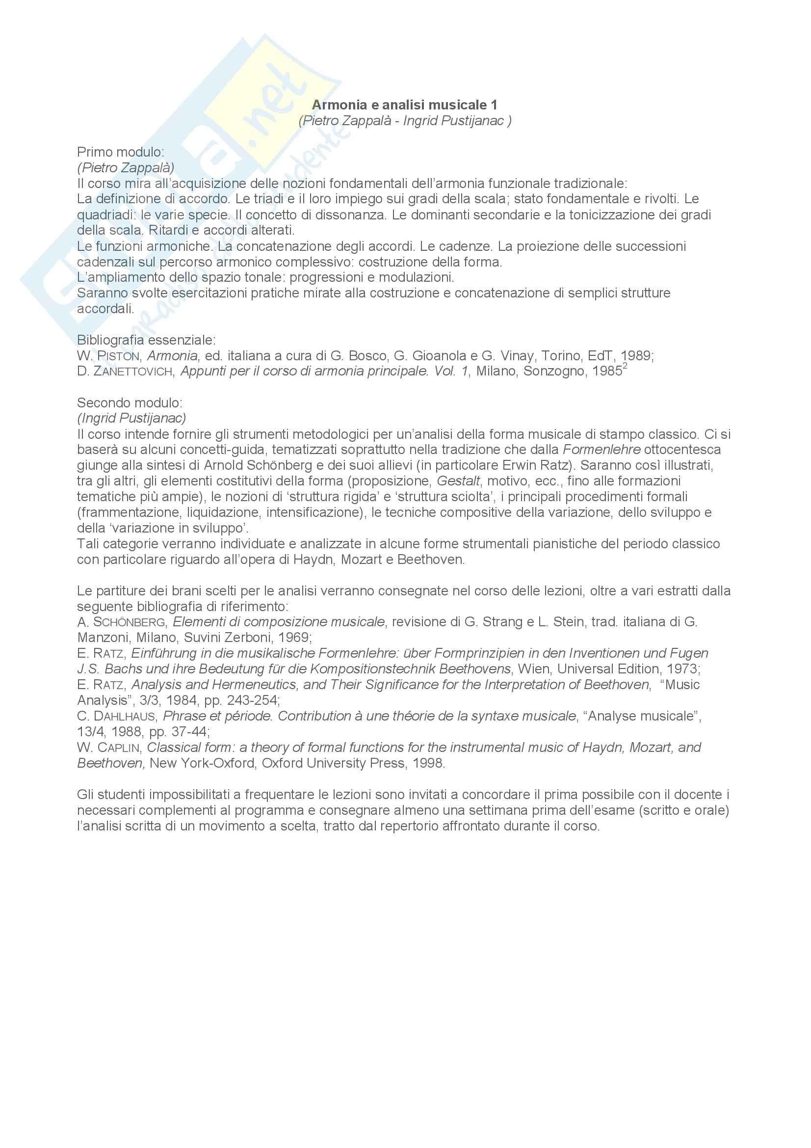 dispensa P. Zappalà Armonia e analisi musicale