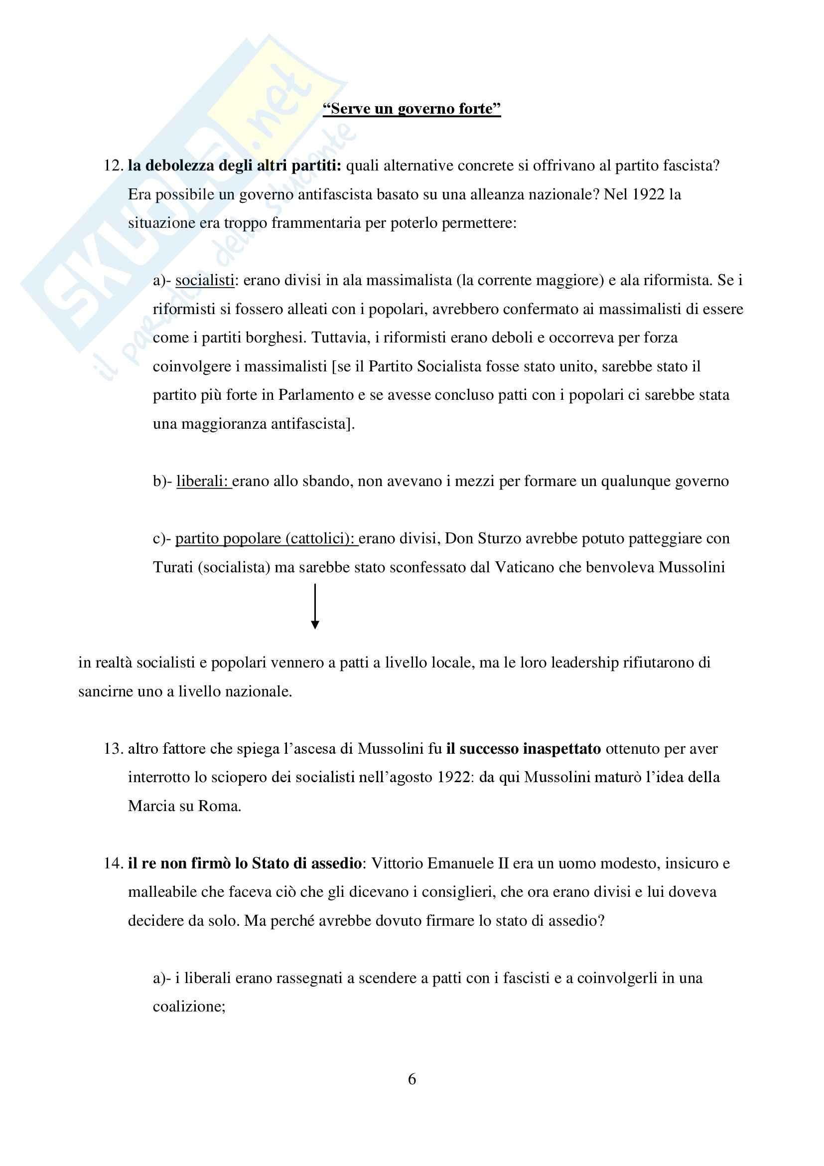 Riassunto esame Storia dell'Europa Contemporanea, prof. Rapone, libro consigliato Come Nasce un Dittatore: Le cause del Trionfo di Mussolini di Sassoon Pag. 6