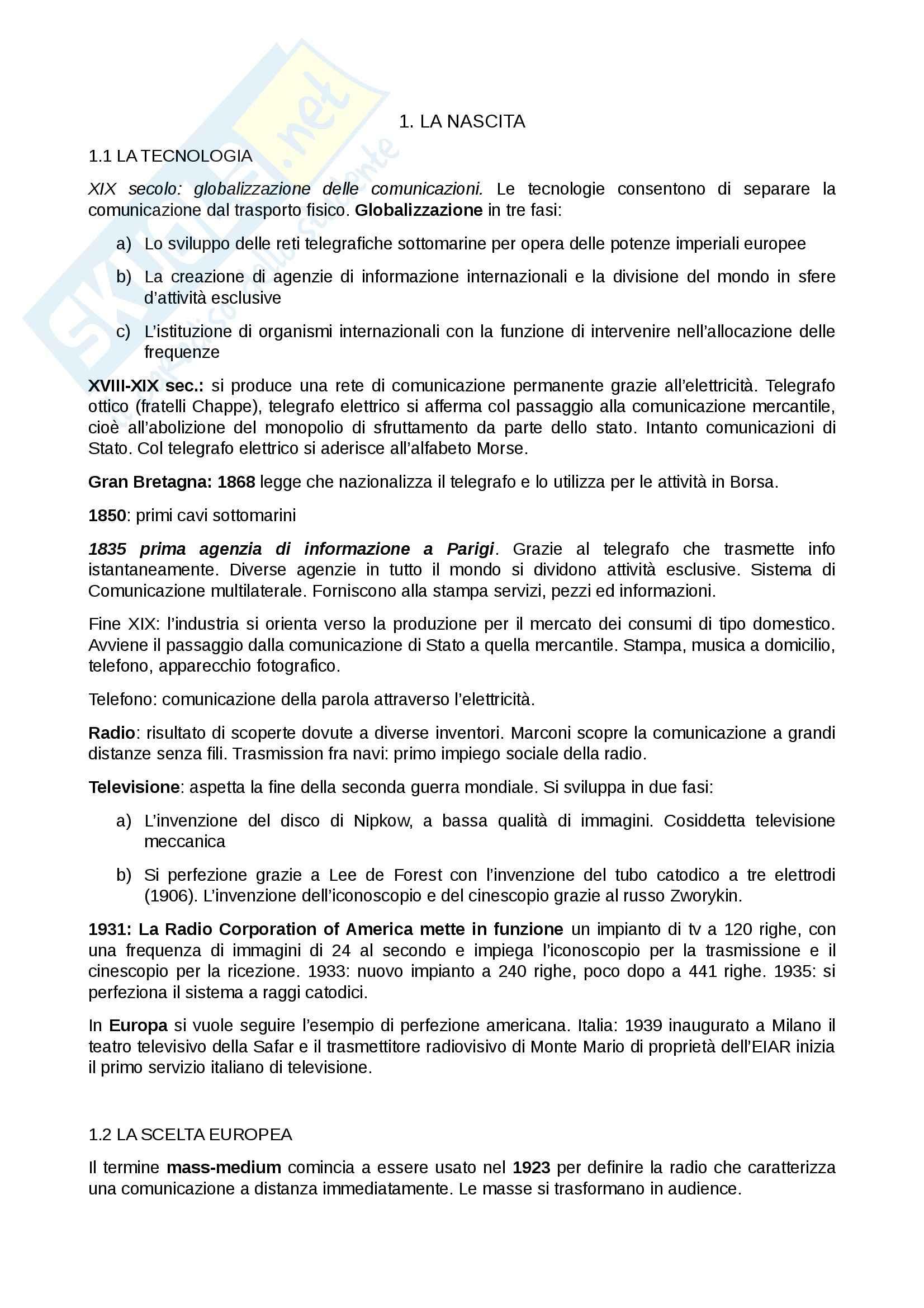 Riassunto esame Radio e tv, prof. Villani, libro consigliato Breve storia della radio e della televisione italiana, Anania