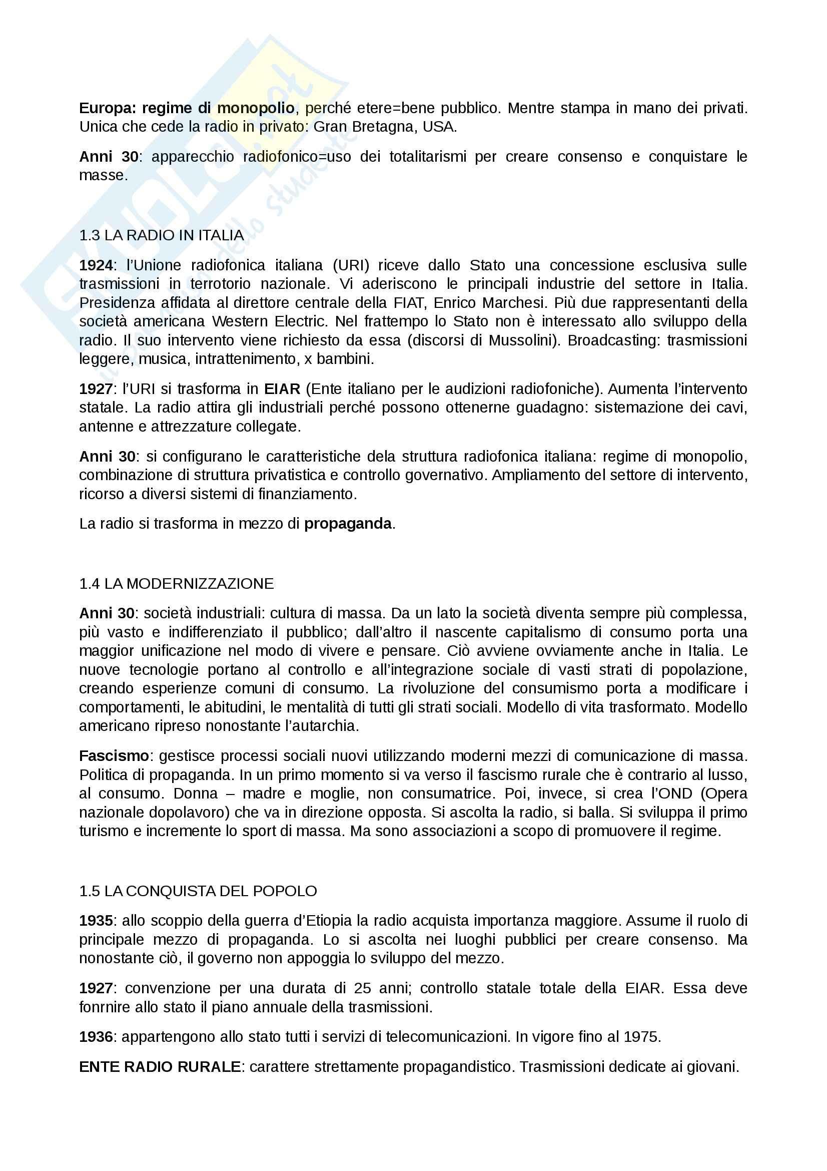 Riassunto esame Radio e tv, prof. Villani, libro consigliato Breve storia della radio e della televisione italiana, Anania Pag. 2
