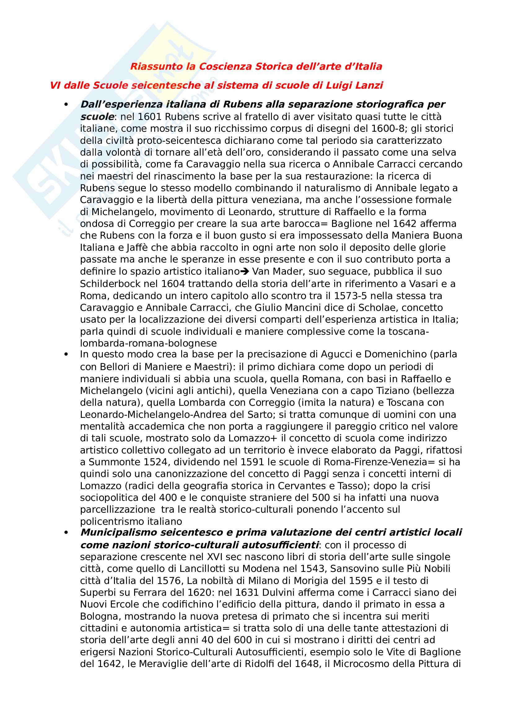 Riassunto esame storia della Letteratura artistica, prof Sacchi, libro consigliato la Coscienza Storica dell'arte, Bologna