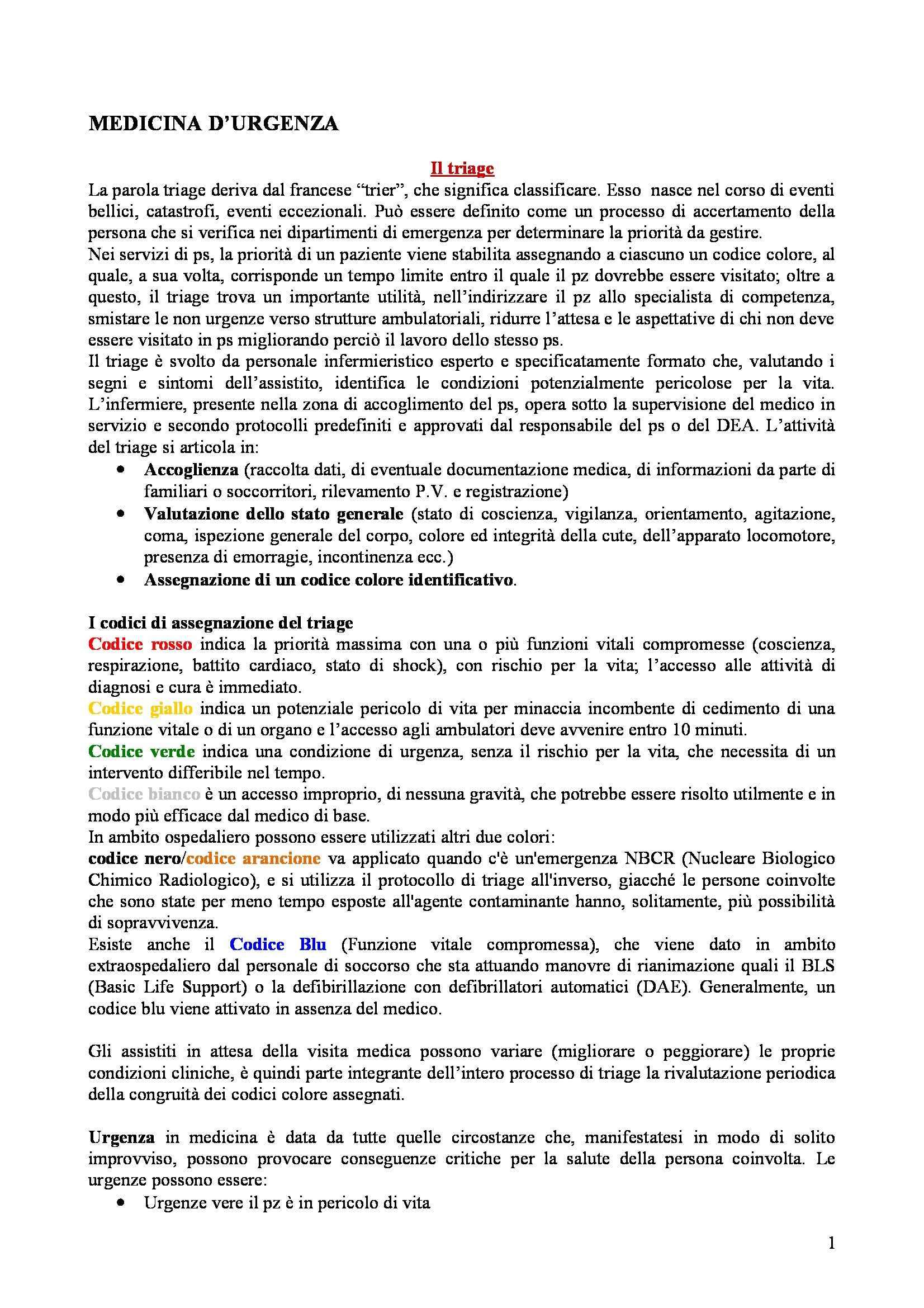 Infermieristica - Medicina d'urgenza CLA