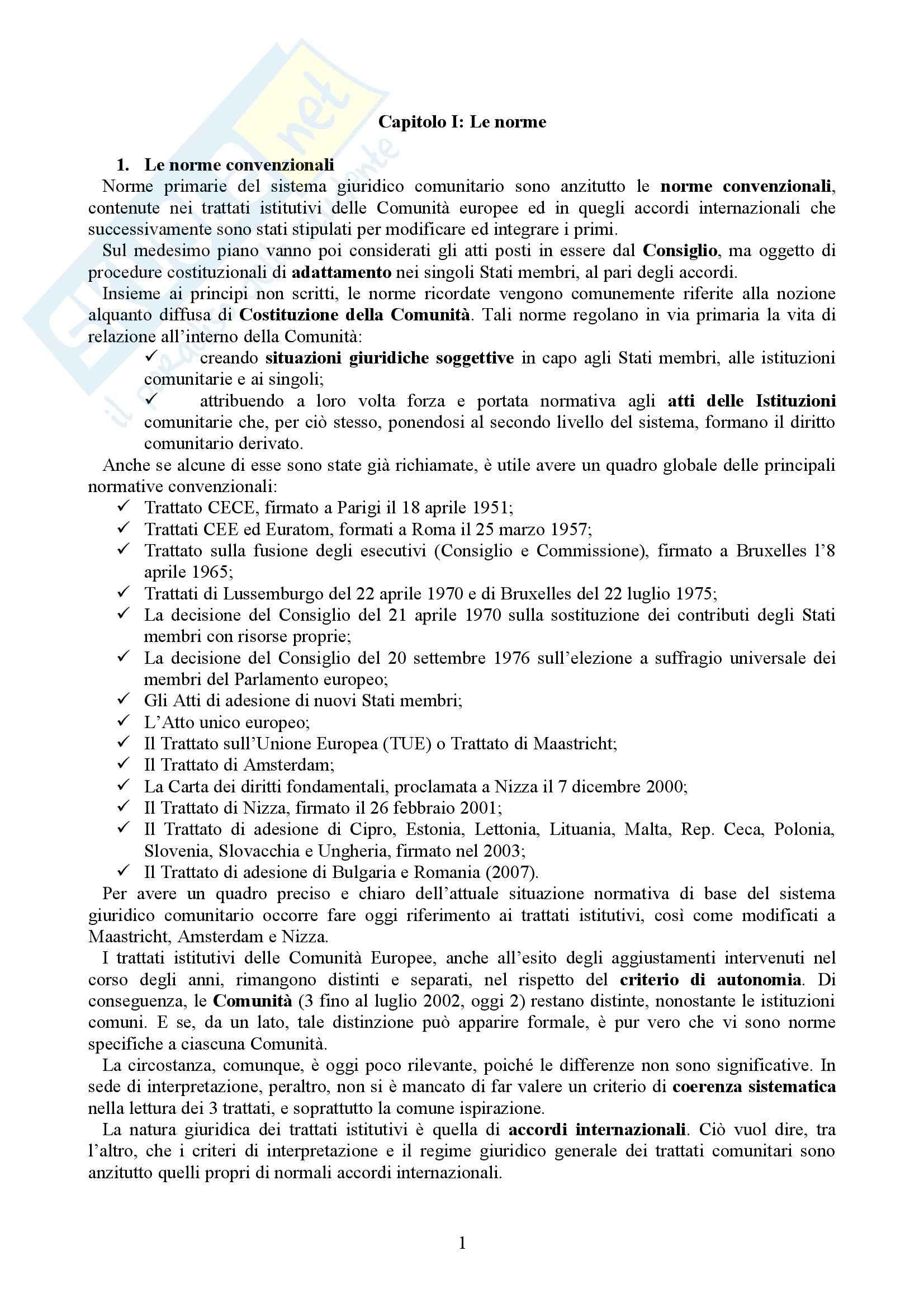 Riassunto esame Diritto dell'Unione Europea, prof. Casolari, libro consigliato Diritto dell'Unione Europea, Tesauro