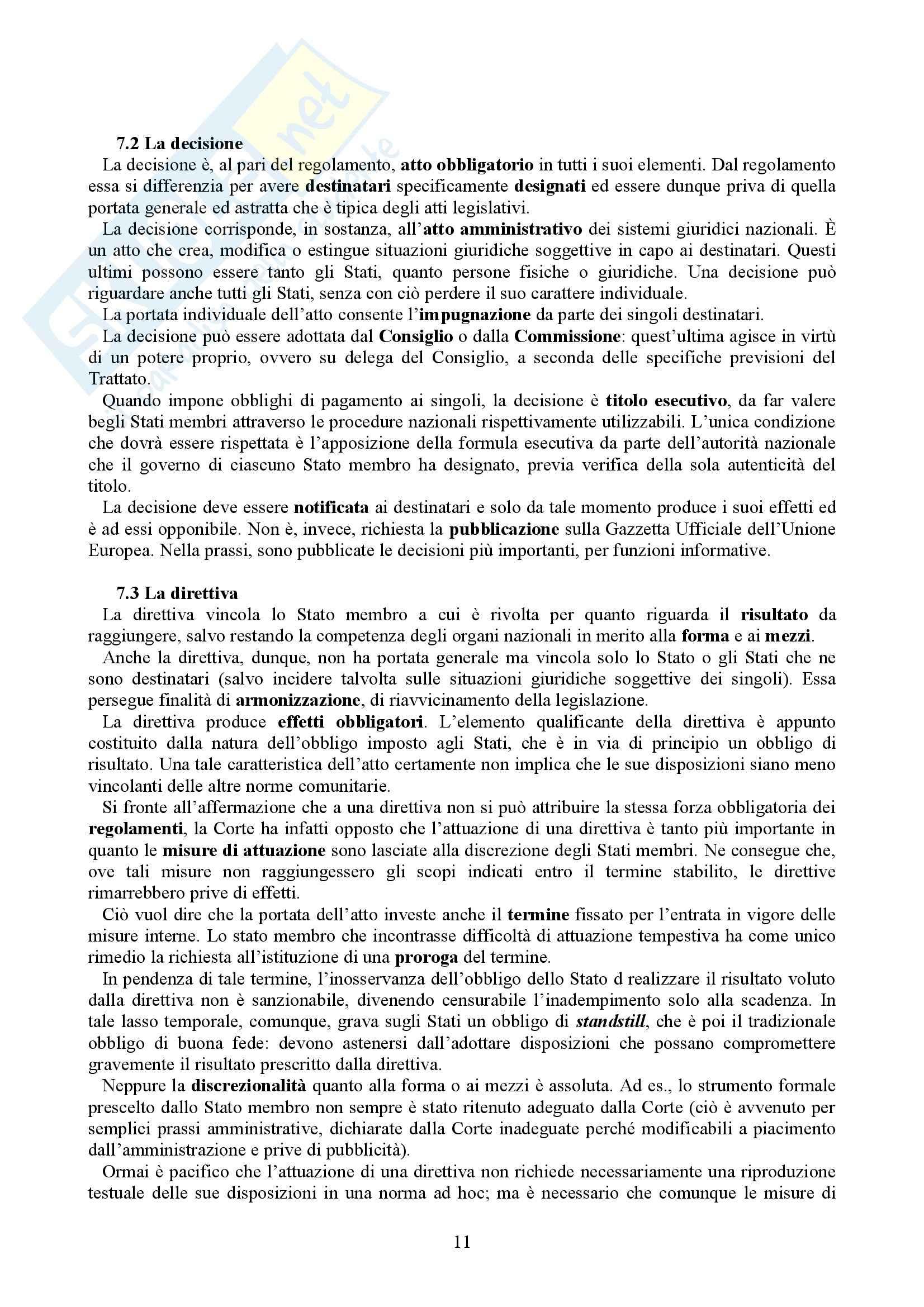 Riassunto esame Diritto dell'Unione Europea, prof. Casolari, libro consigliato Diritto dell'Unione Europea, Tesauro Pag. 11