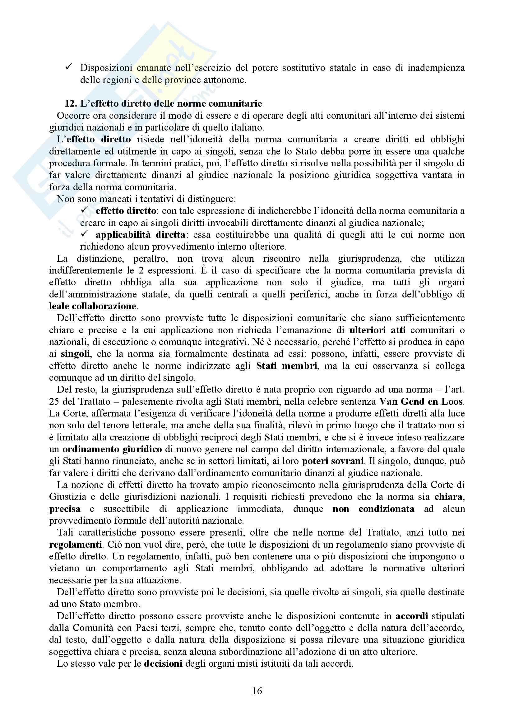 Riassunto esame Diritto dell'Unione Europea, prof. Casolari, libro consigliato Diritto dell'Unione Europea, Tesauro Pag. 16