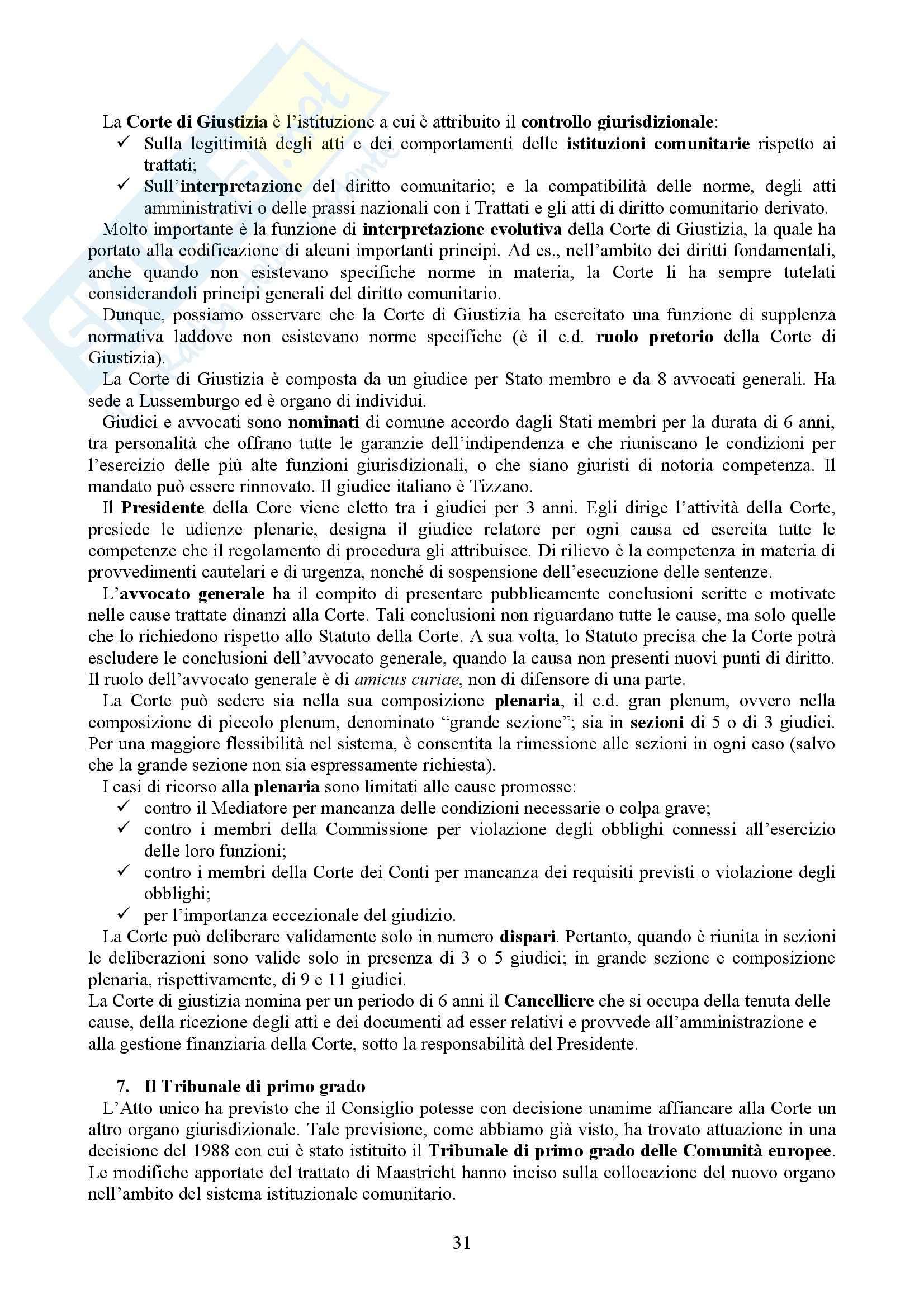 Riassunto esame Diritto dell'Unione Europea, prof. Casolari, libro consigliato Diritto dell'Unione Europea, Tesauro Pag. 31