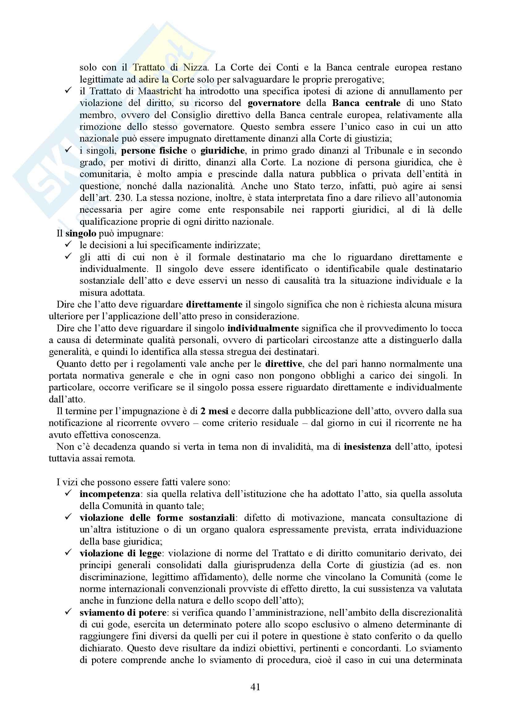 Riassunto esame Diritto dell'Unione Europea, prof. Casolari, libro consigliato Diritto dell'Unione Europea, Tesauro Pag. 41