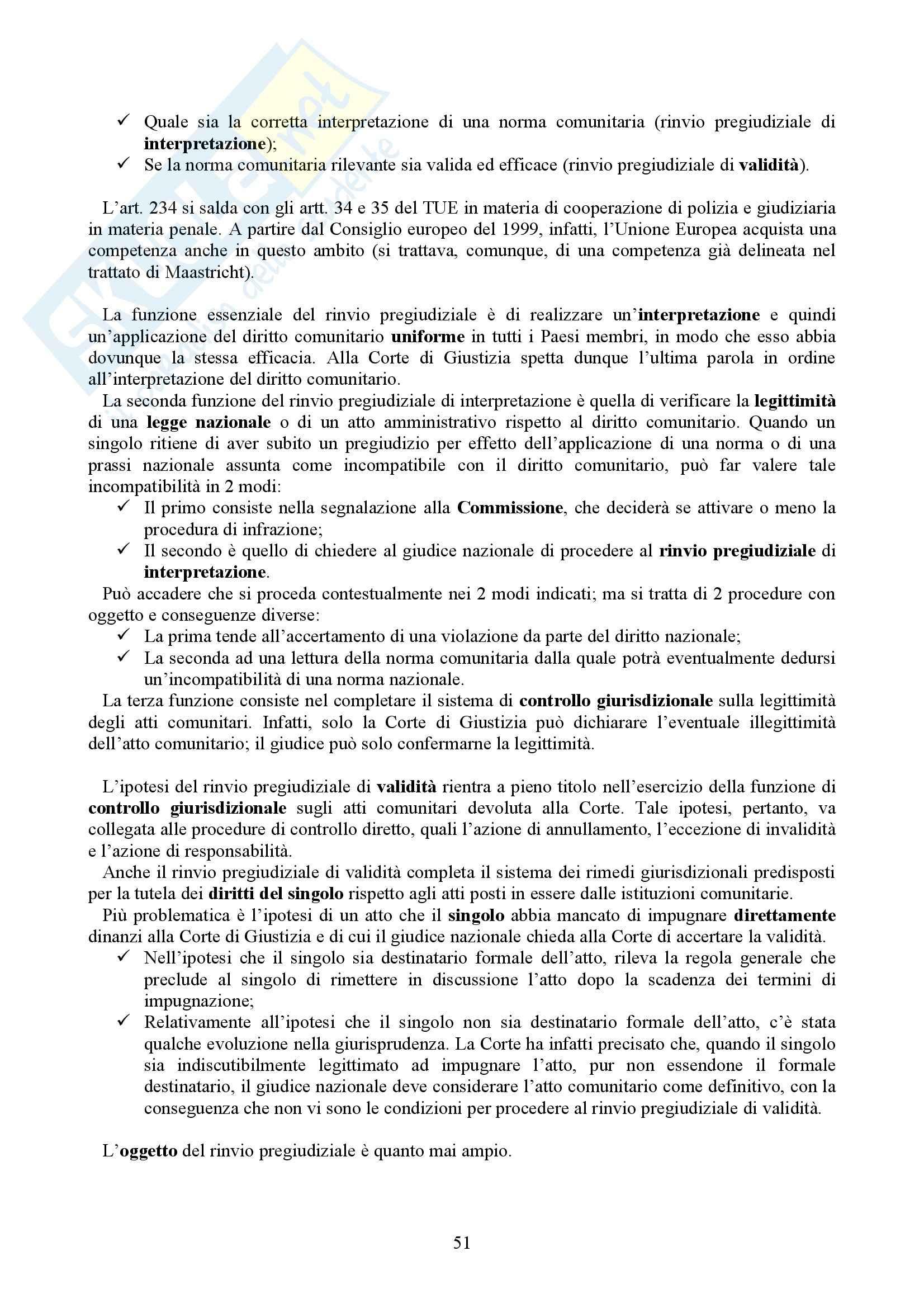 Riassunto esame Diritto dell'Unione Europea, prof. Casolari, libro consigliato Diritto dell'Unione Europea, Tesauro Pag. 51