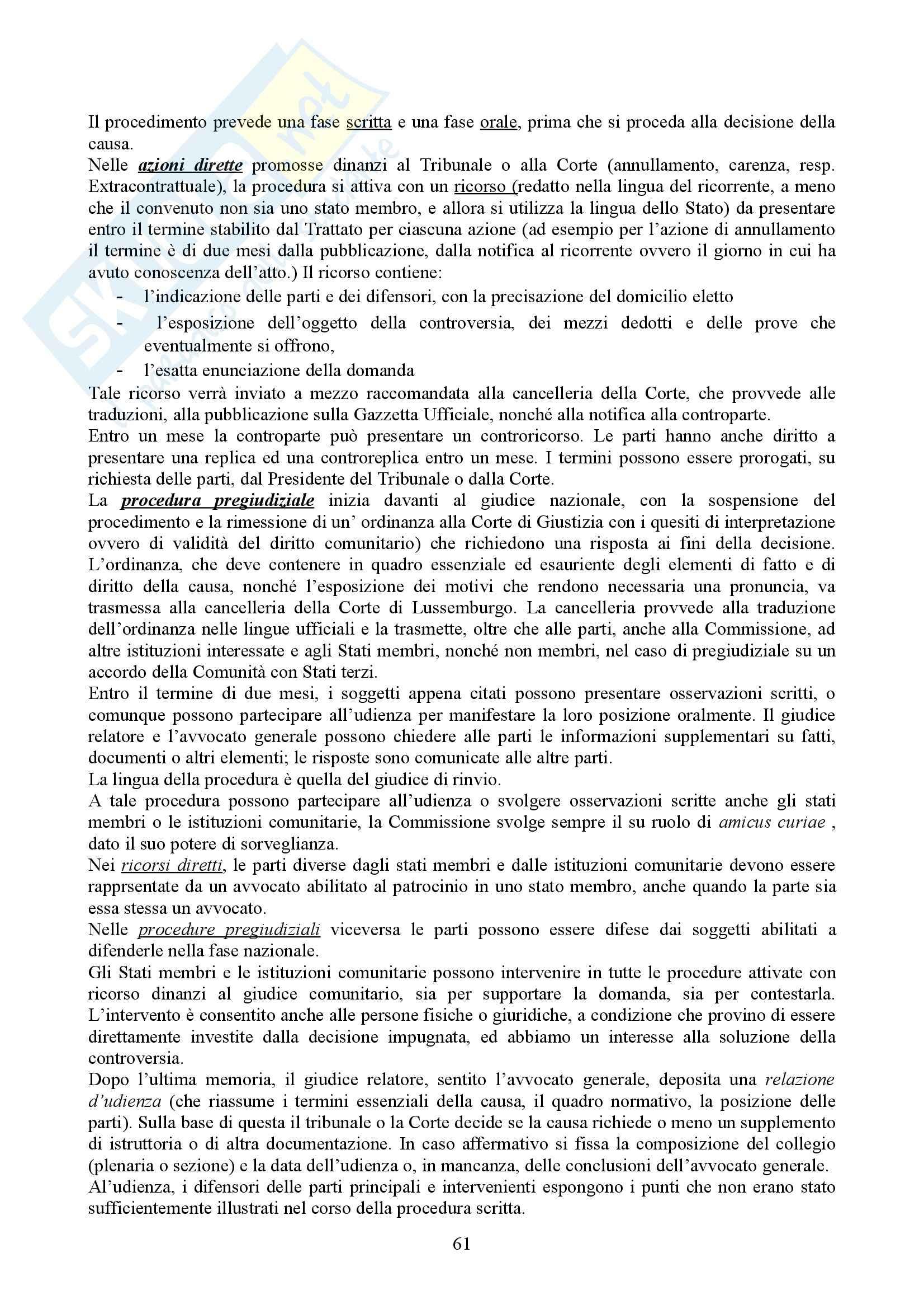 Riassunto esame Diritto dell'Unione Europea, prof. Casolari, libro consigliato Diritto dell'Unione Europea, Tesauro Pag. 61