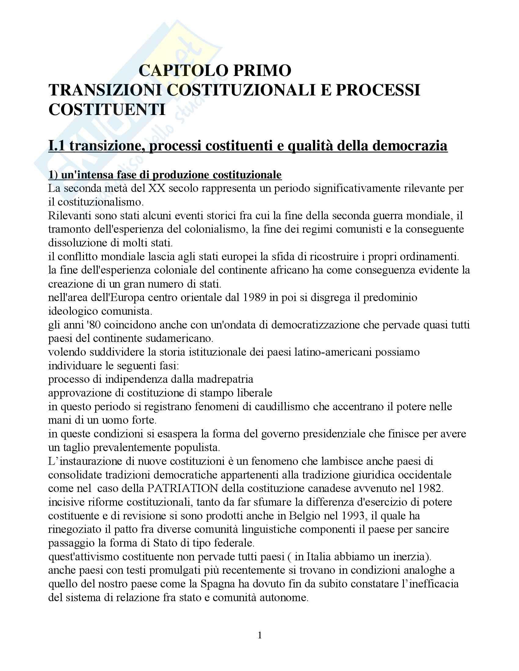Riassunto esame Diritto Pubblico Comparato, prof. Rolla, libro consigliato Scritti di Diritto Costituzionale Comparato