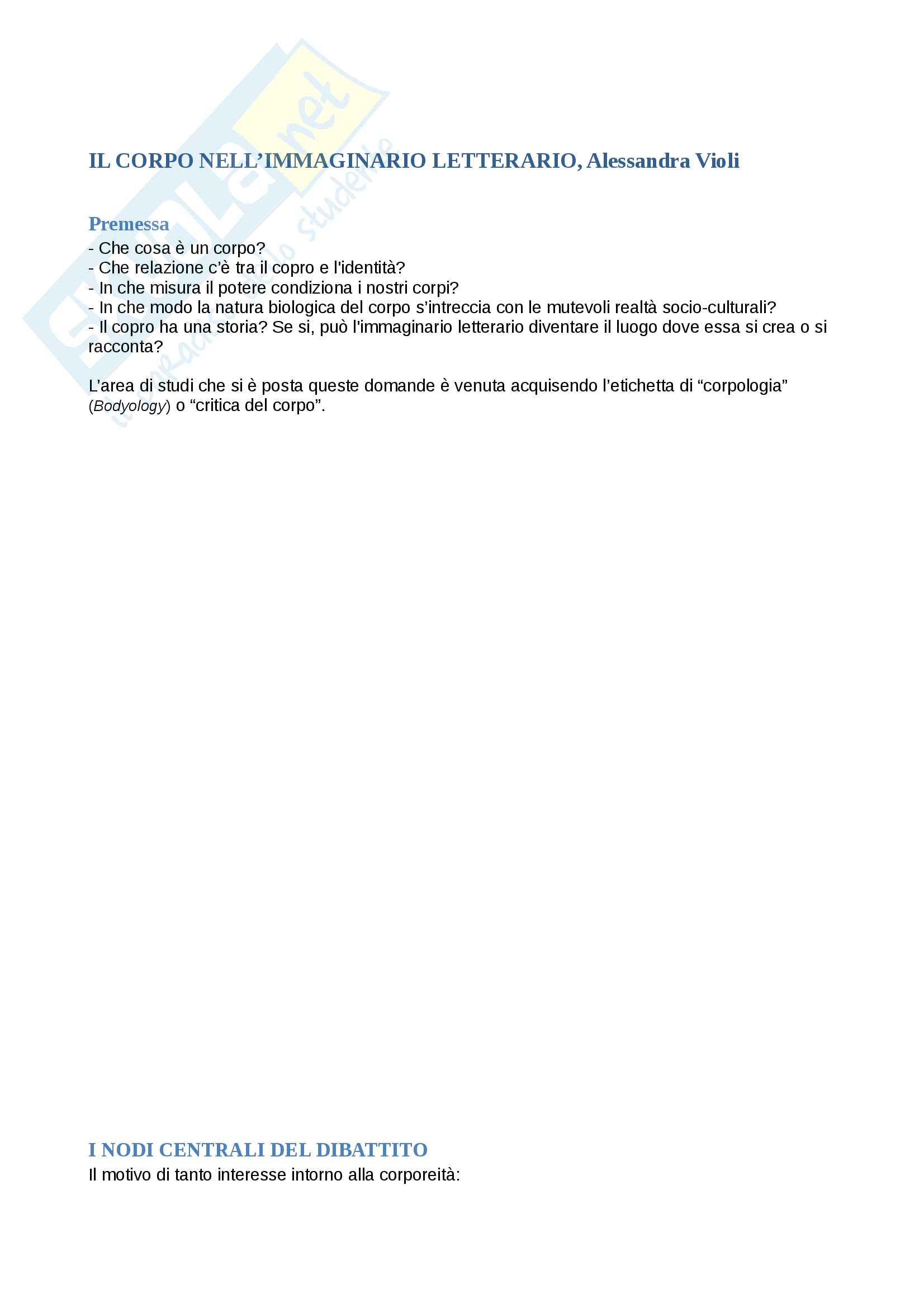 Riassunto esame Letteratura Inglese, docente Alessandra Violi, libro consigliato Il corpo nell'immaginario letterario, autore Alessandra Violi