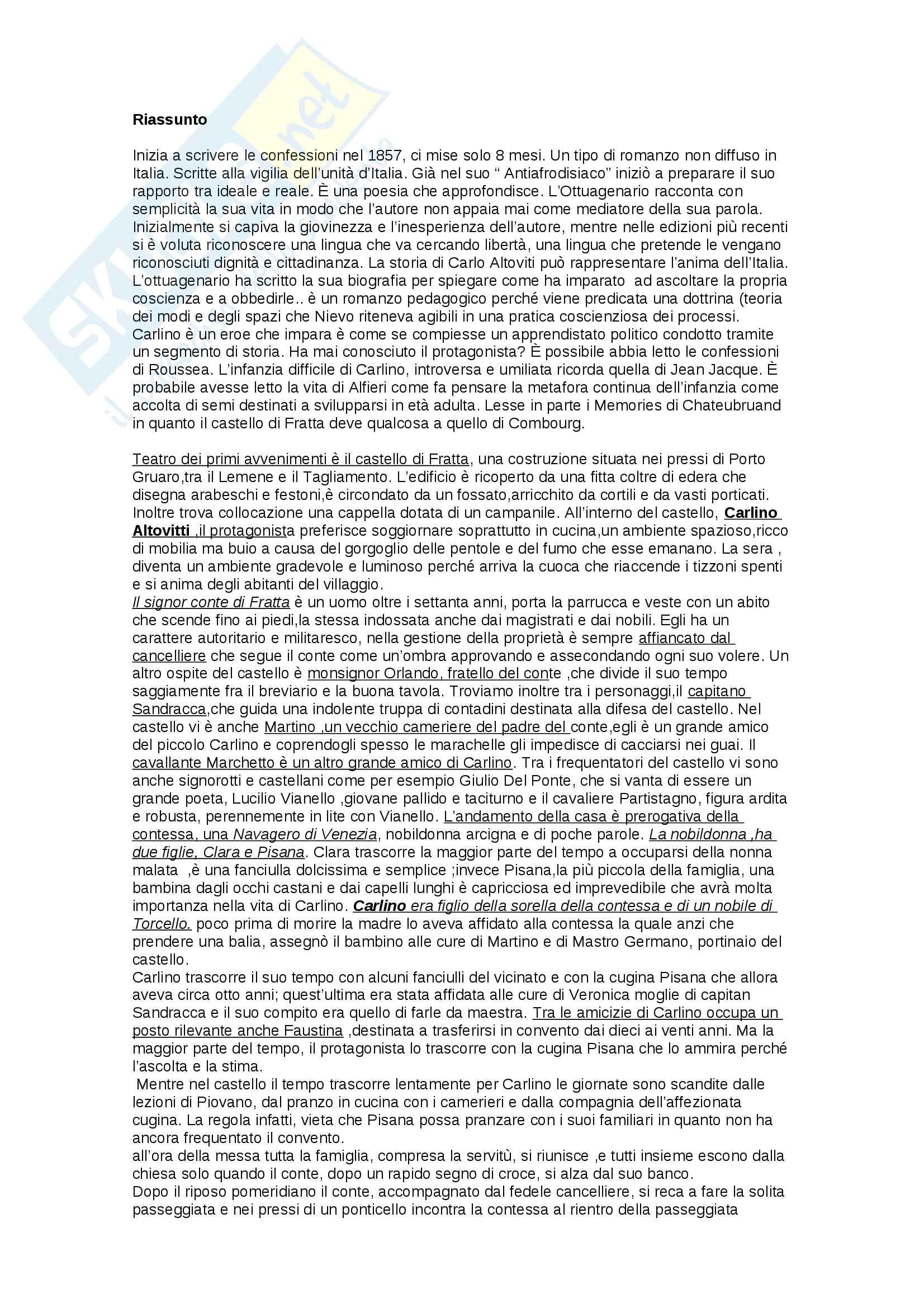 Riassunto letteratura italiana- istituzioni, prof. Russo, libro consigliato Le confessioni di un italiano, Nievo