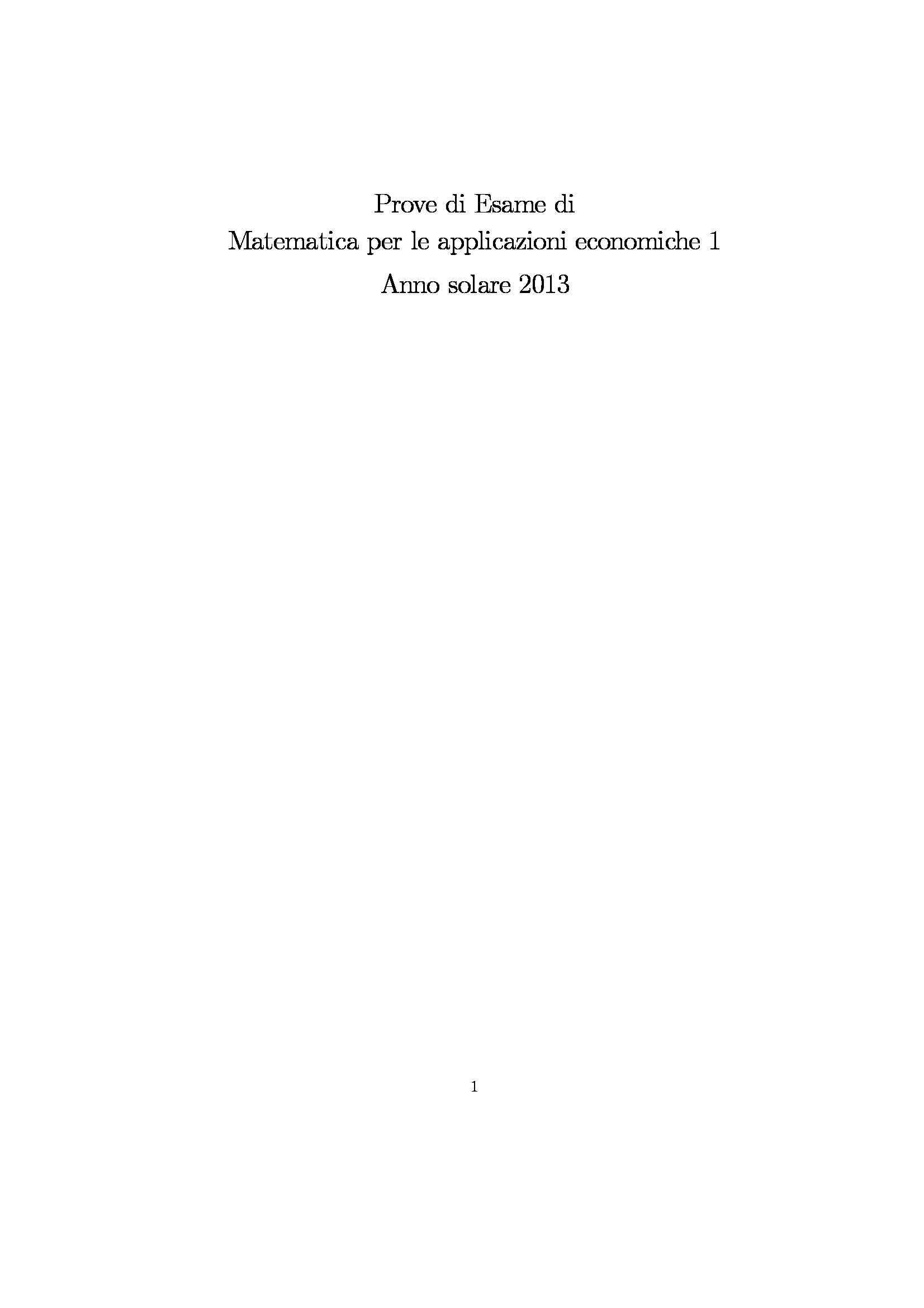 Matematica per le applicazioni economiche - esercizi