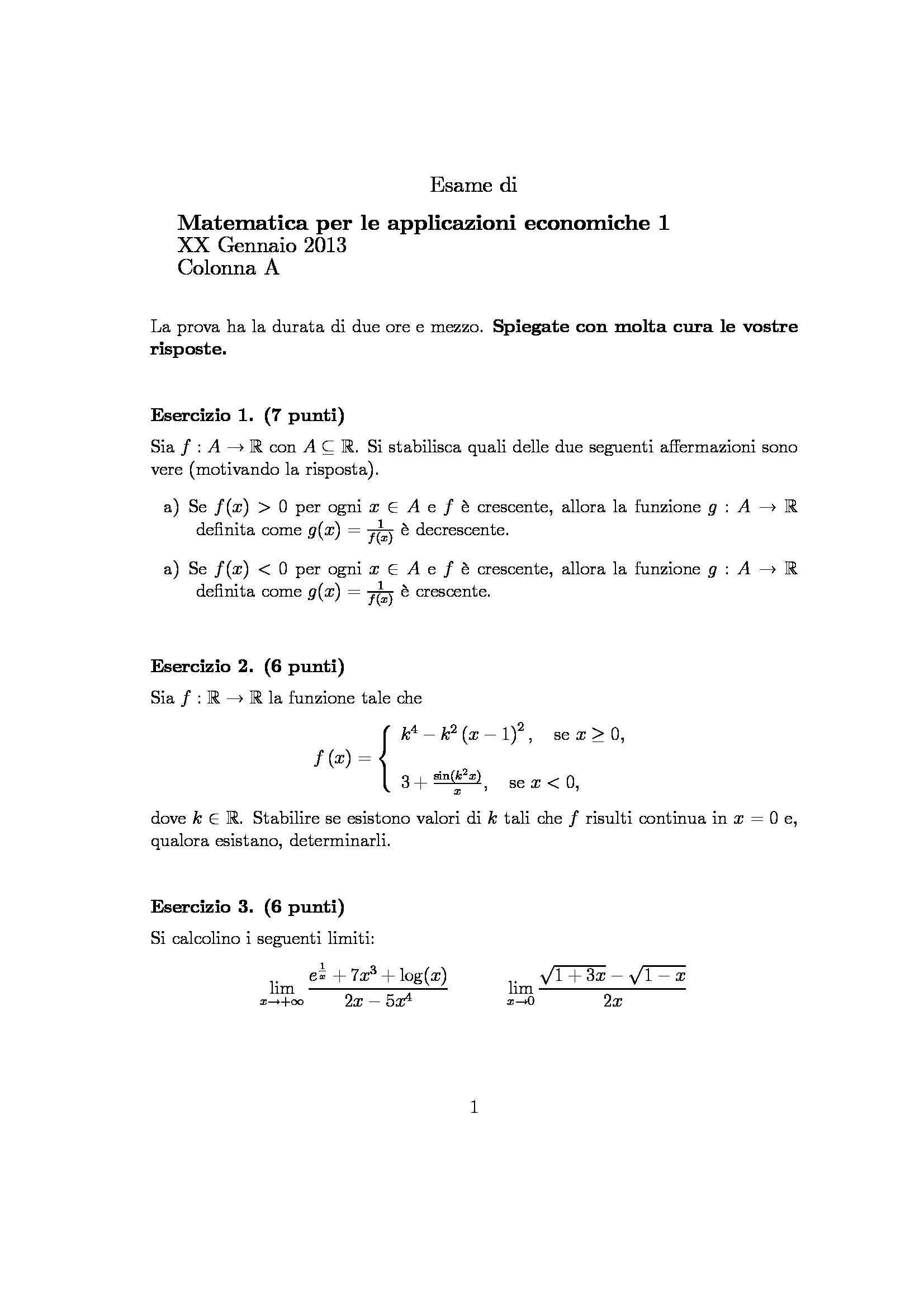 Matematica per le applicazioni economiche - esercizi Pag. 2